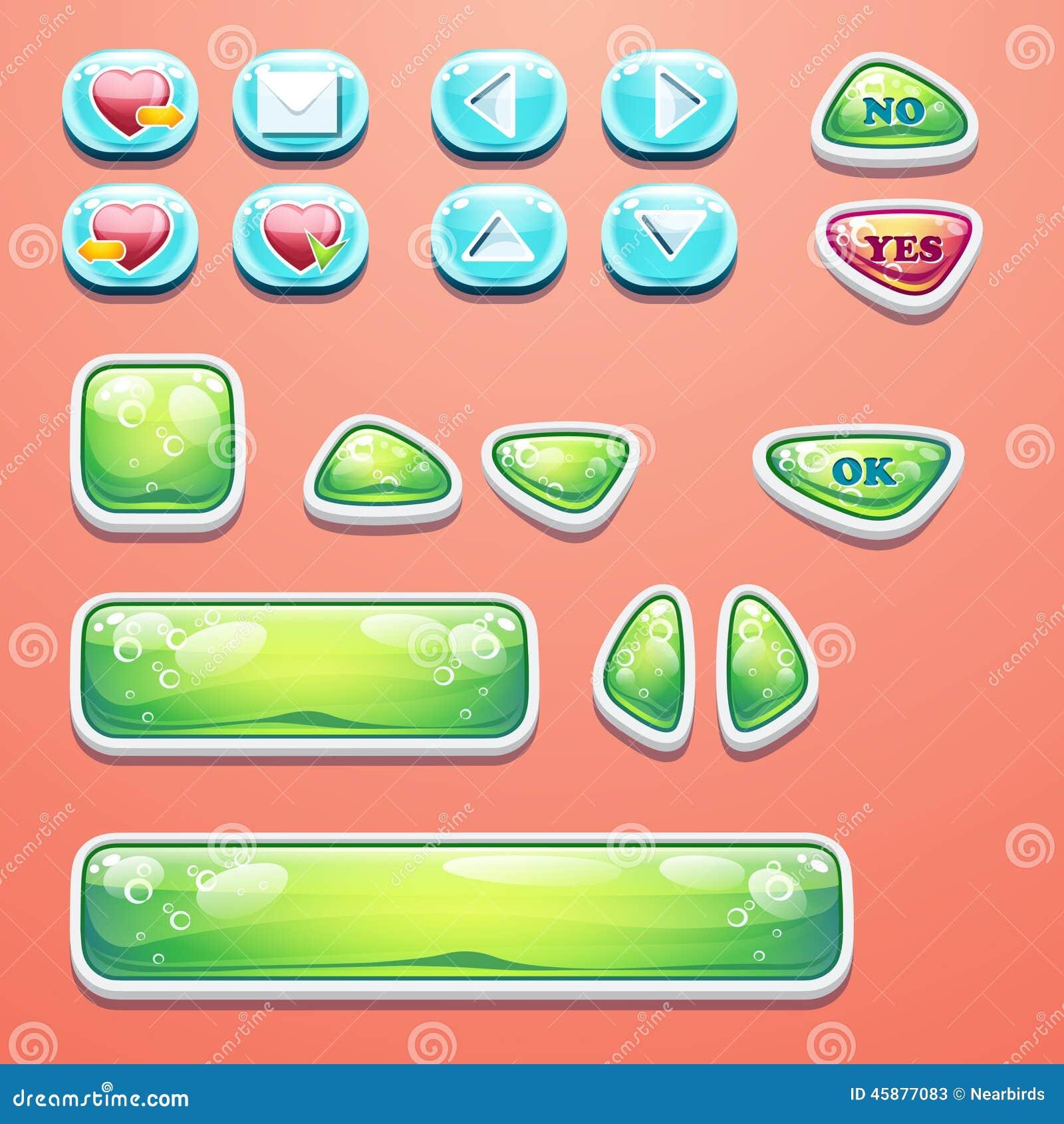 Установленные блестящие кнопки с ОДОБРЕННОЙ кнопкой, кнопки да и нет к дизайну и веб-дизайну компютерных игр