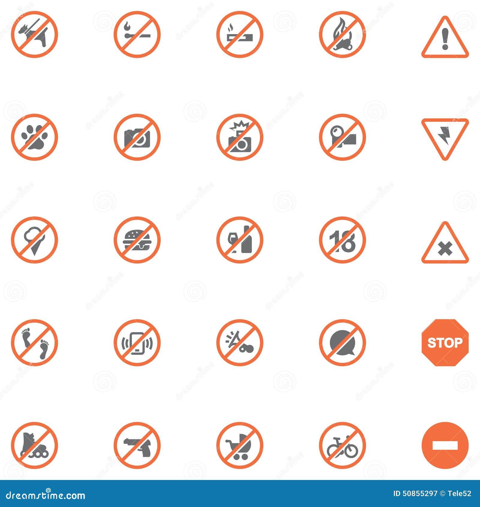 Установленные знаки запрета