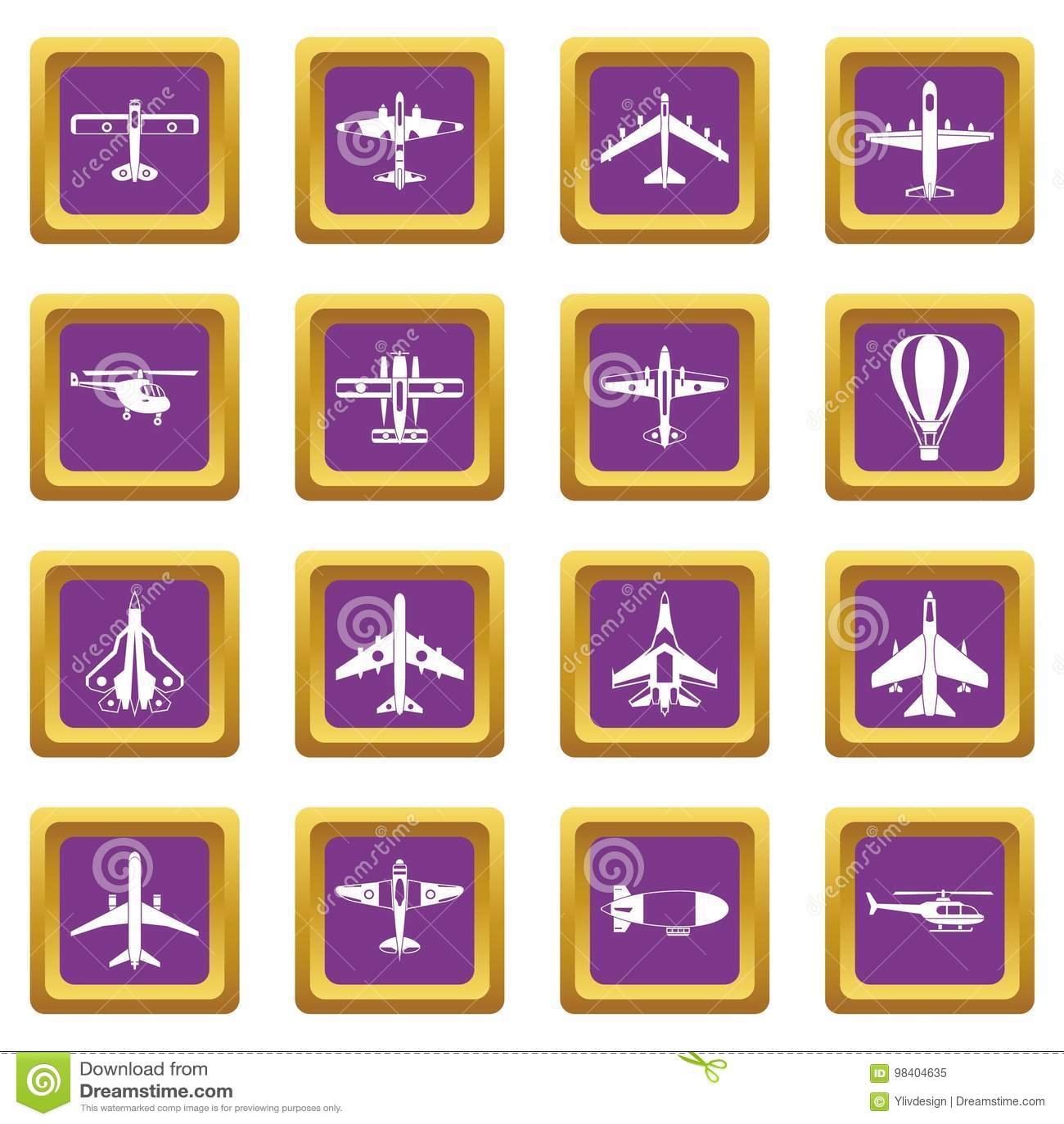 Установленные значки авиации фиолетовыми