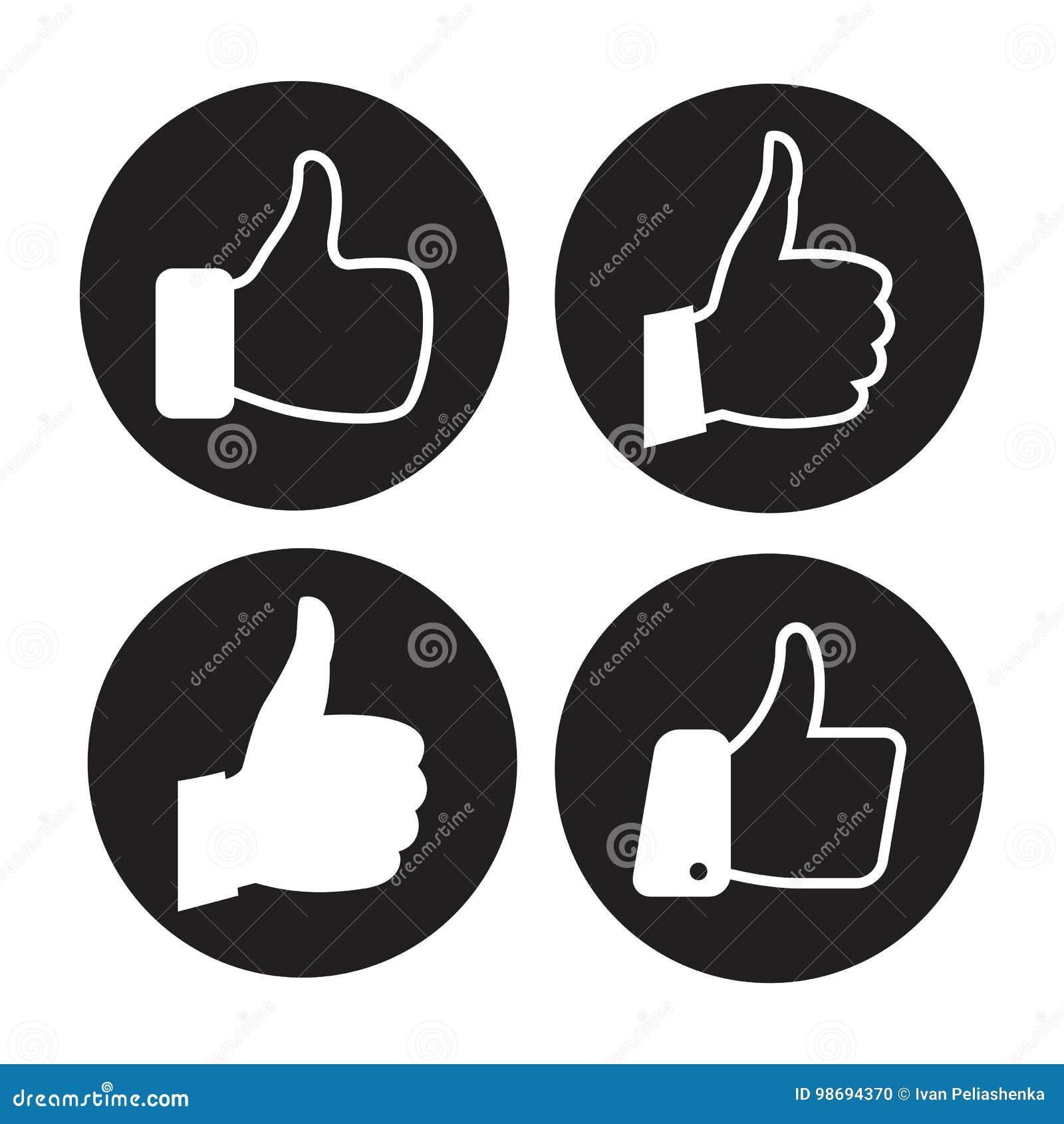 Установленные значки большого пальца руки