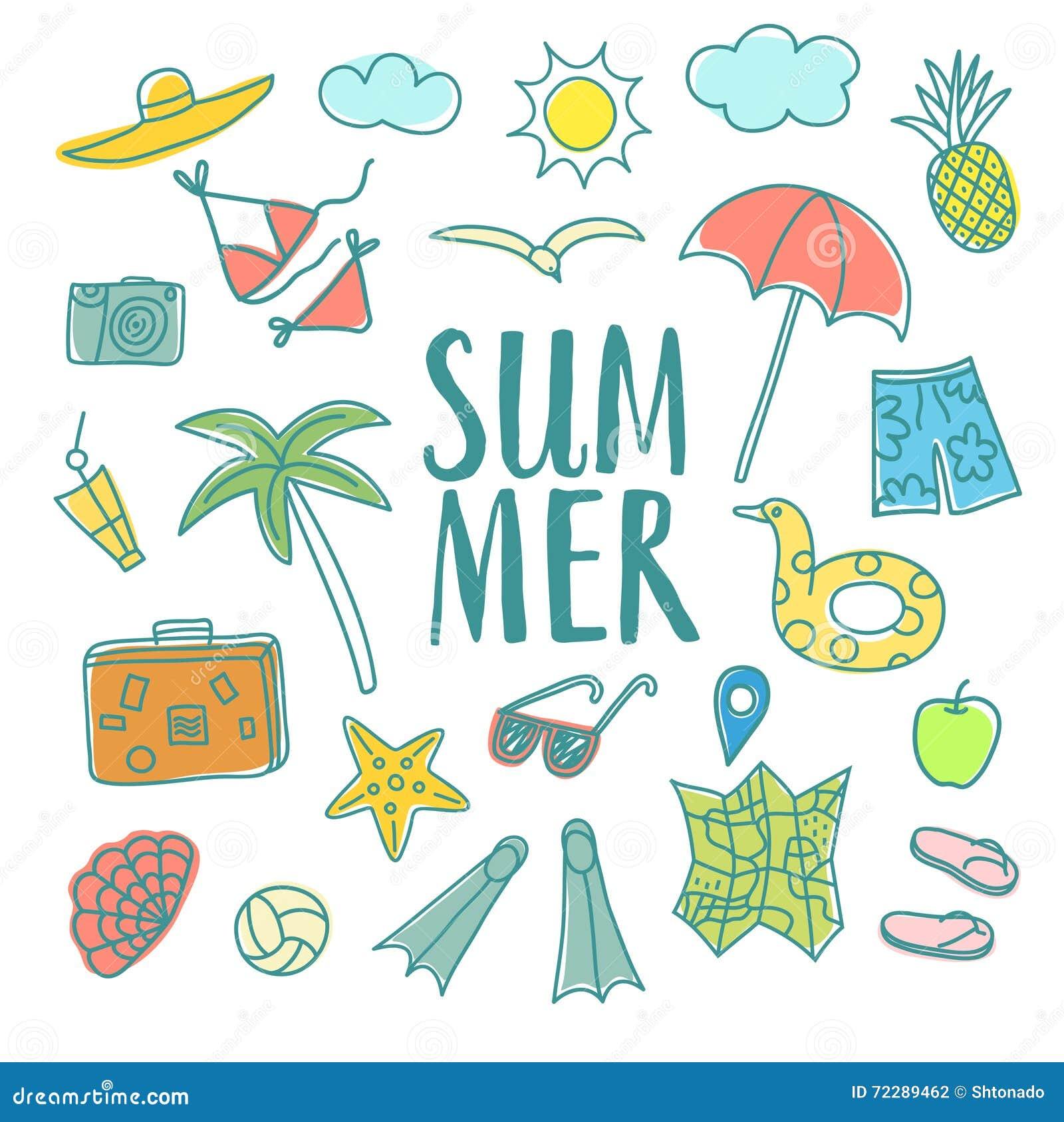 Download Установленные иллюстрации Doodle летних каникулов красочные Иллюстрация штока - иллюстрации насчитывающей ладонь, комплект: 72289462