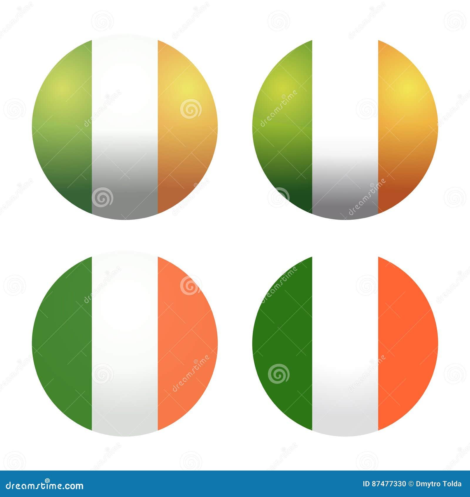 Установленные круглые флаги Ирландского Круглые флаги Ирландии Кнопка флага Ирландии