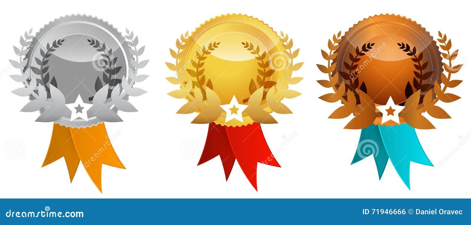 Установленные медали - вектор награждает значки
