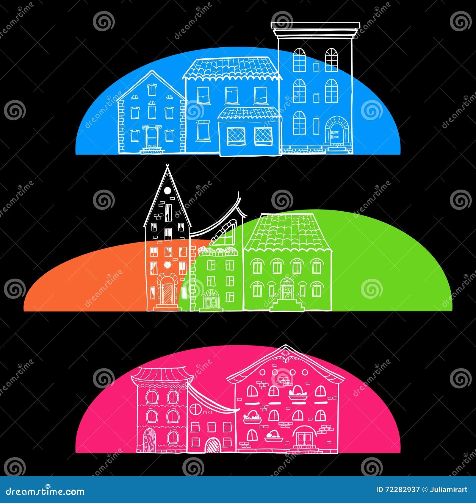 Download Установленные дома темными иллюстрация вектора. иллюстрации насчитывающей чертеж - 72282937
