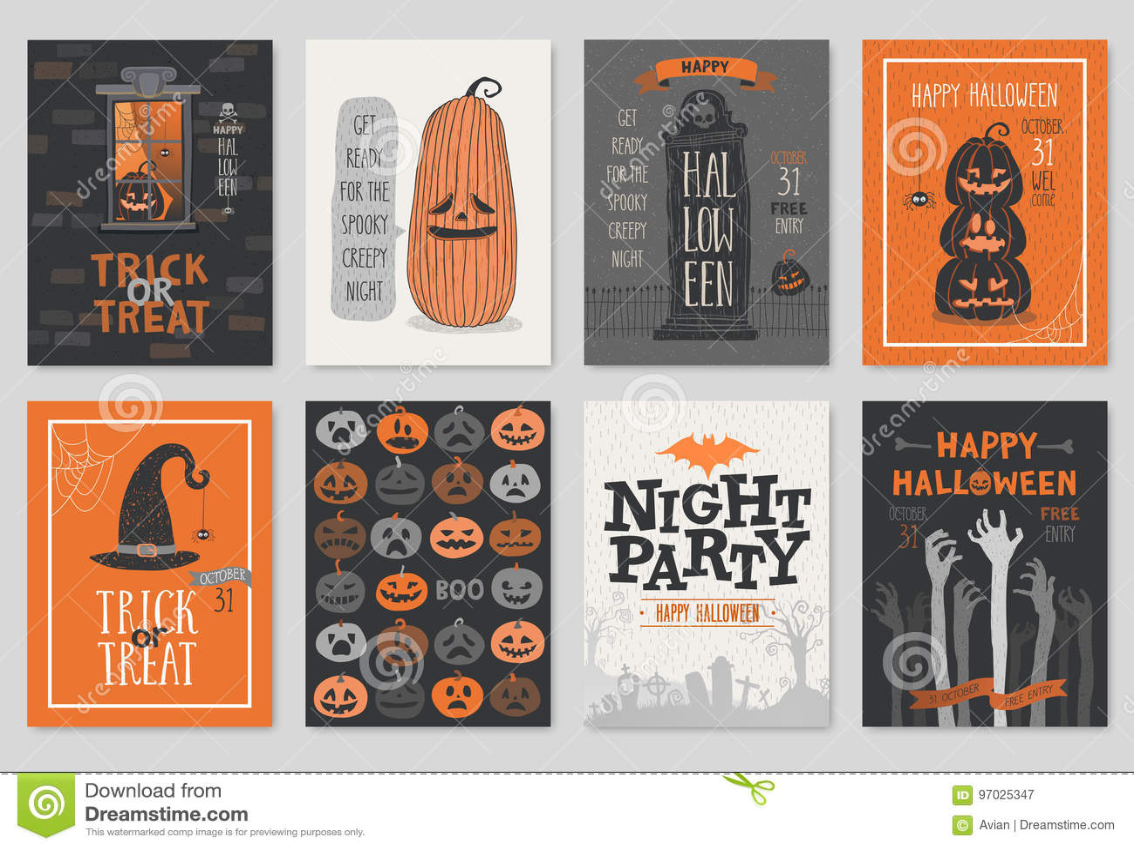 Установленные поздравительные открытки приглашения или хеллоуина нарисованные рукой