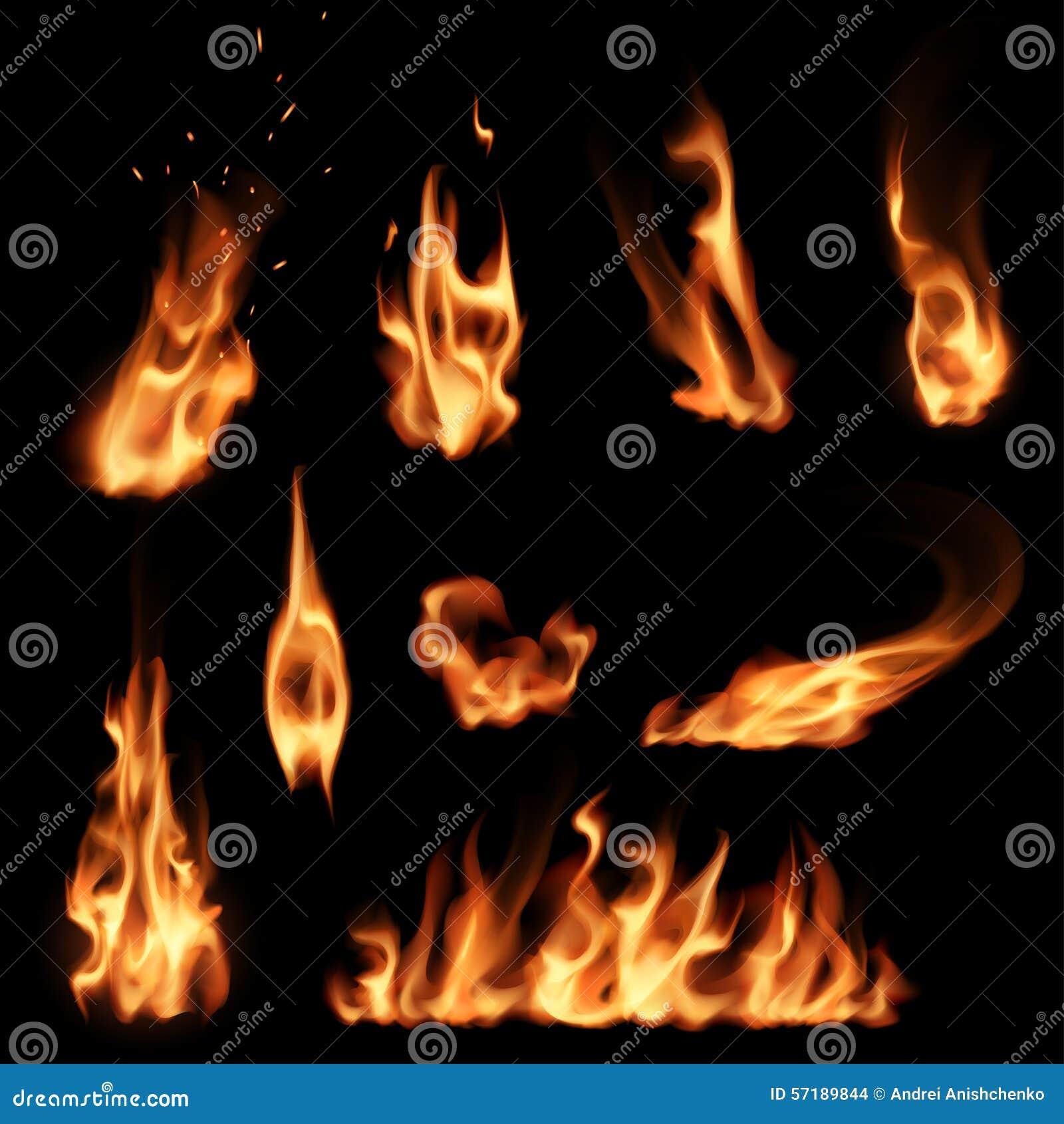 установленные пламена пожара