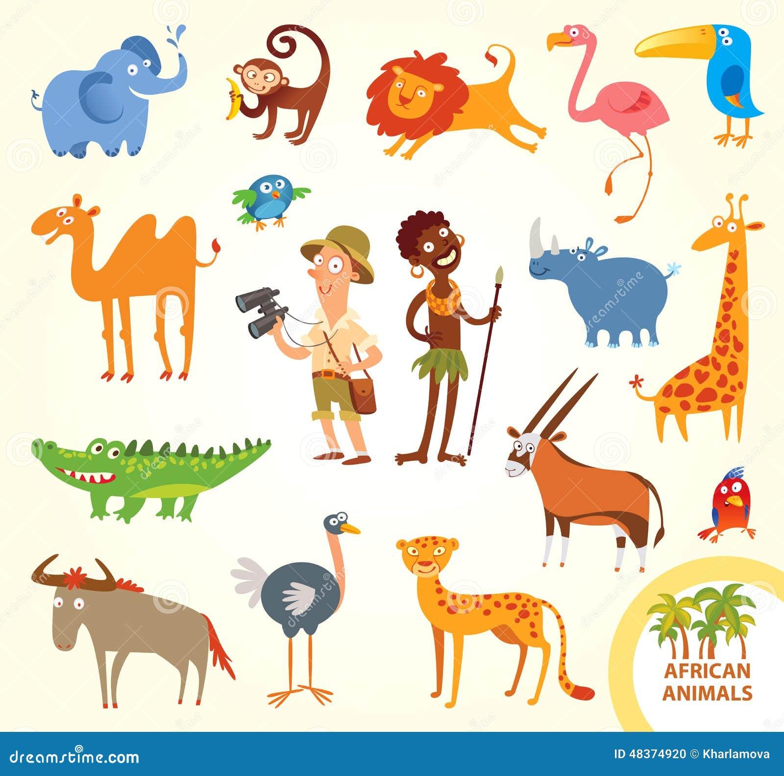 Установленные смешные африканские маленькие животные