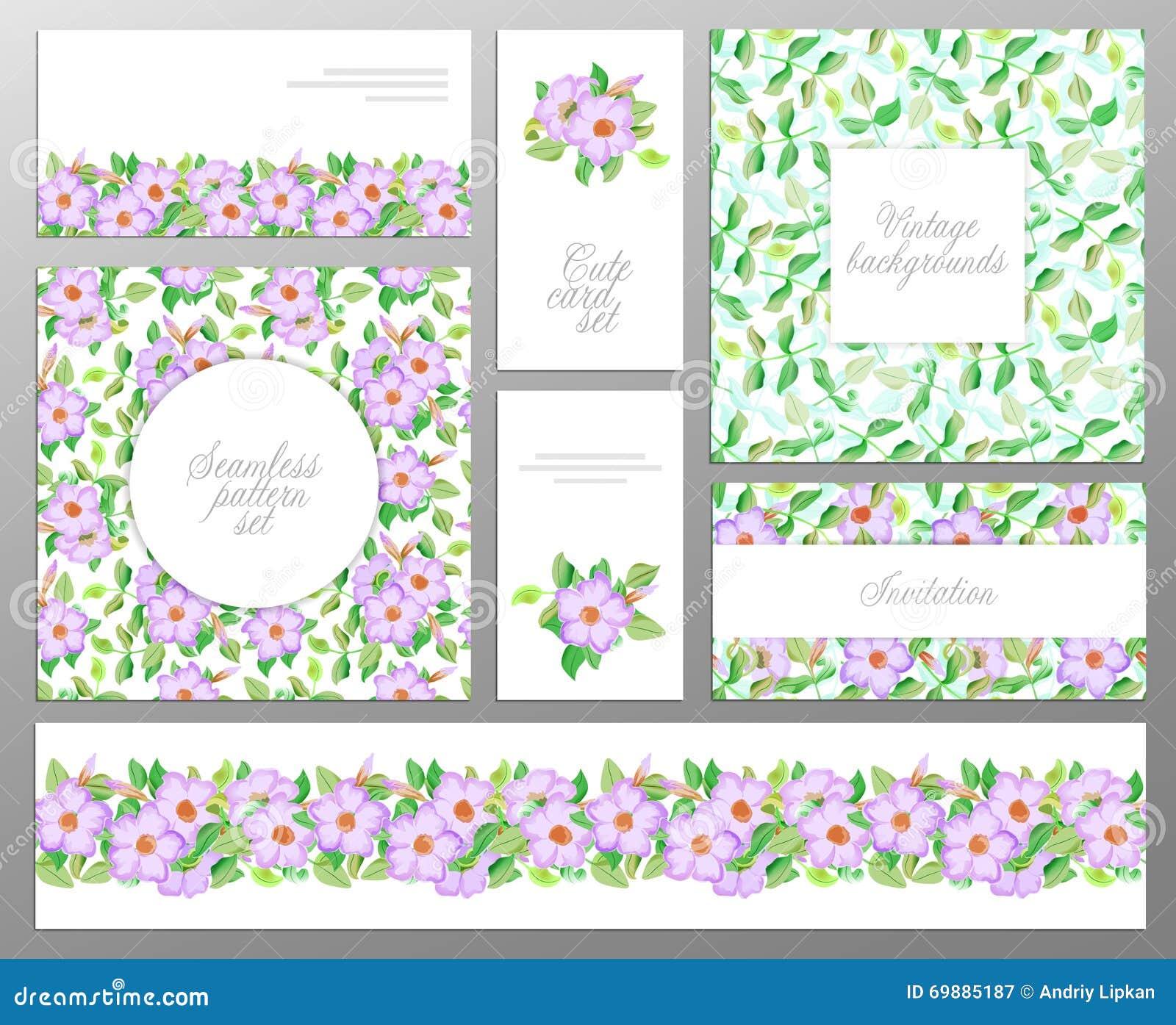 Установленные состоя из 2 безшовные цветочный узор, граница лист и гостеприимсво или поздравительные открытки Свадьба, день рожде