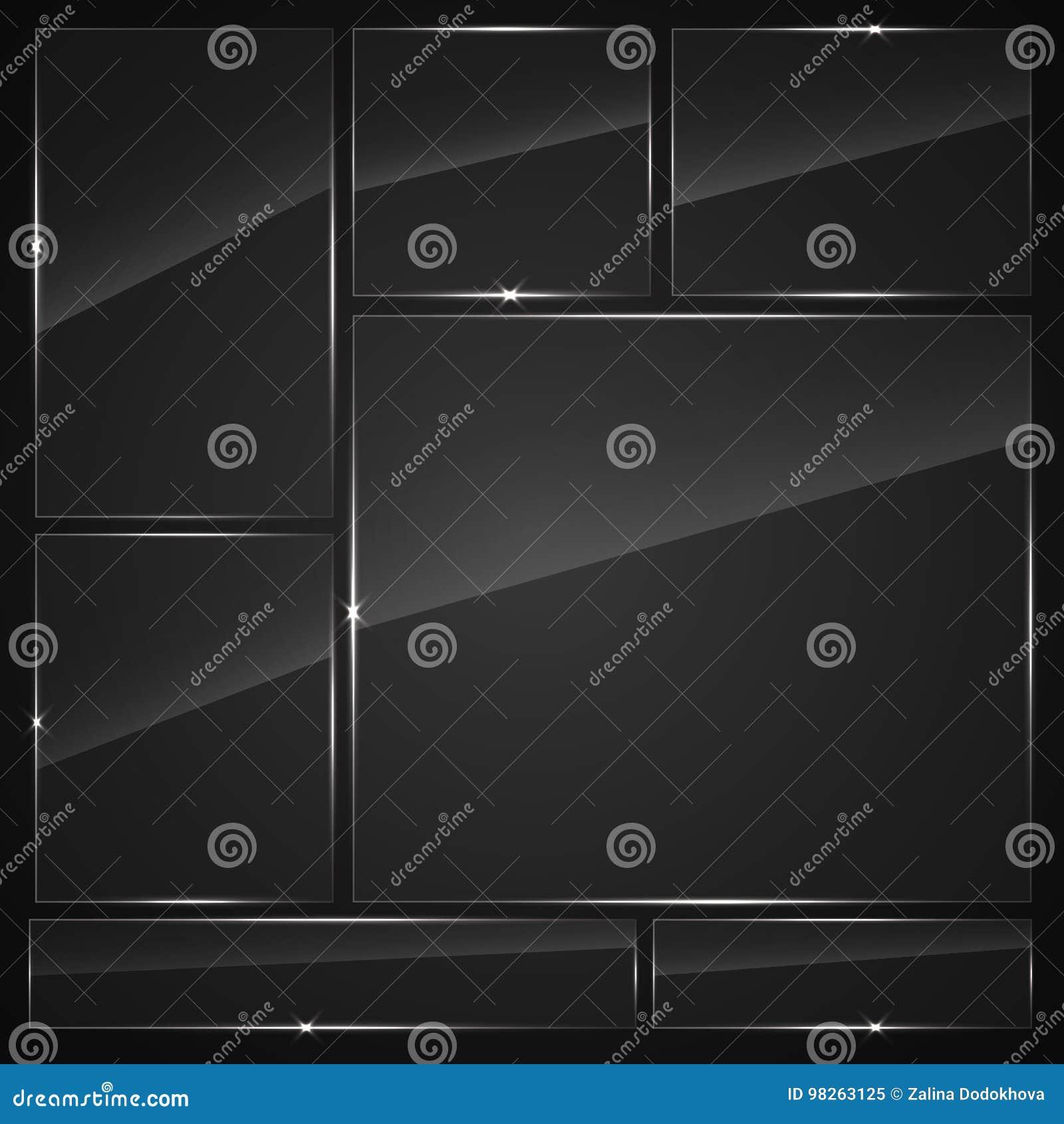 Установленные стеклянные пластинки Знамена стекла вектора
