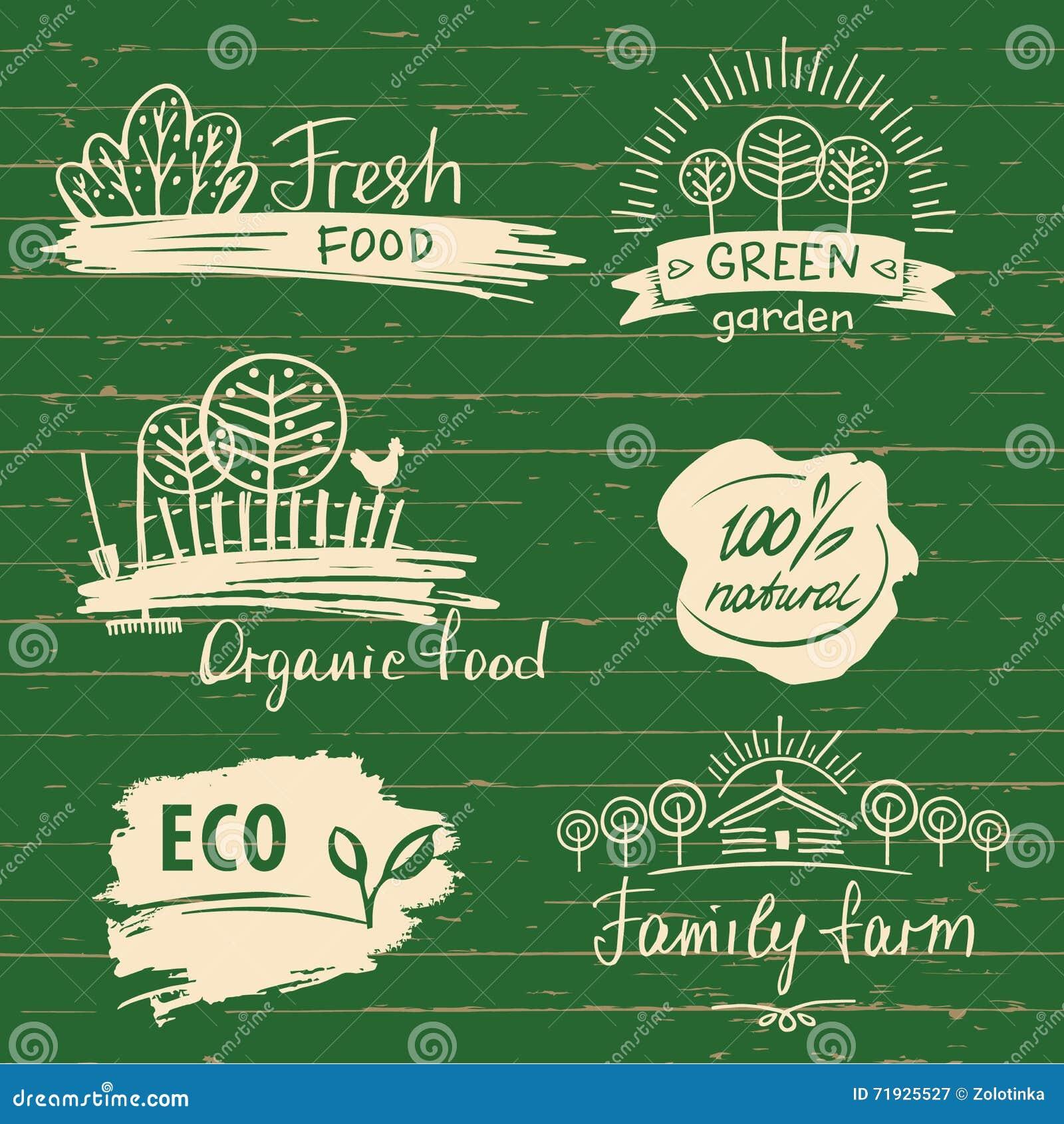 Установленные ярлык и логотипы натуральных продуктов Ярлык и логотип фермы свежие