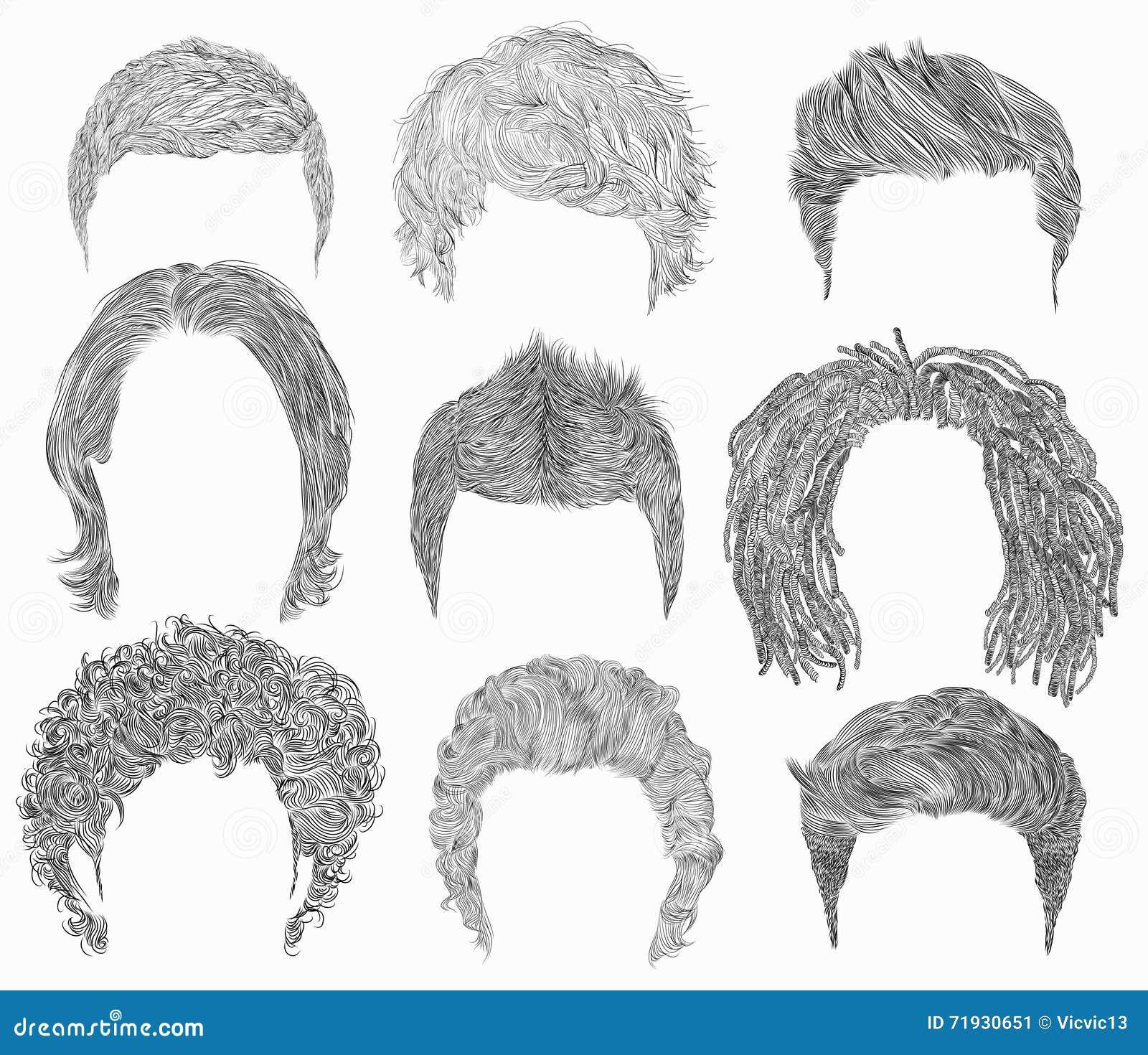 Установленный различный дизайн волос человека стили моды красоты Графики руки отрежьте coll париков маски