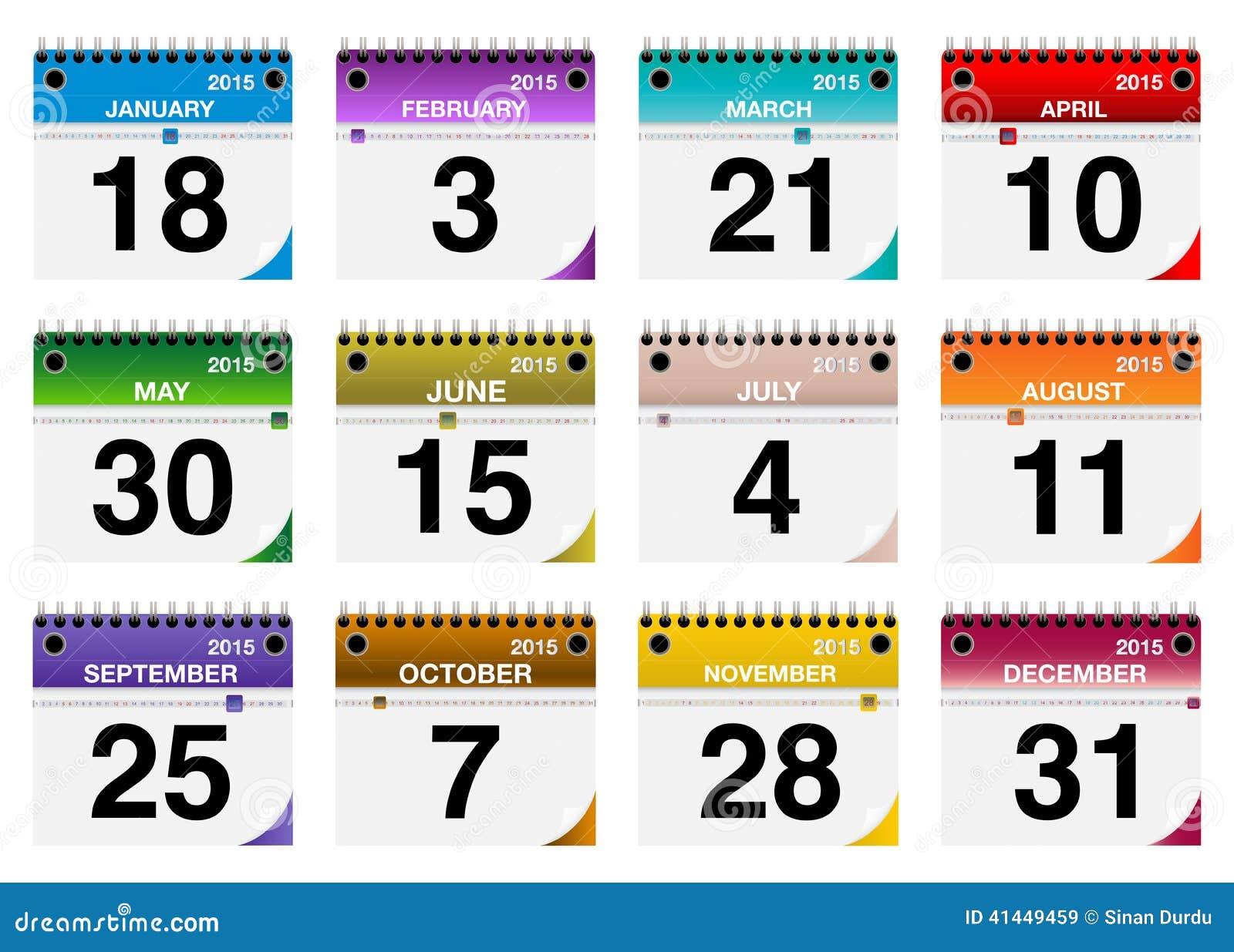 2015 установленных значков календаря вектора