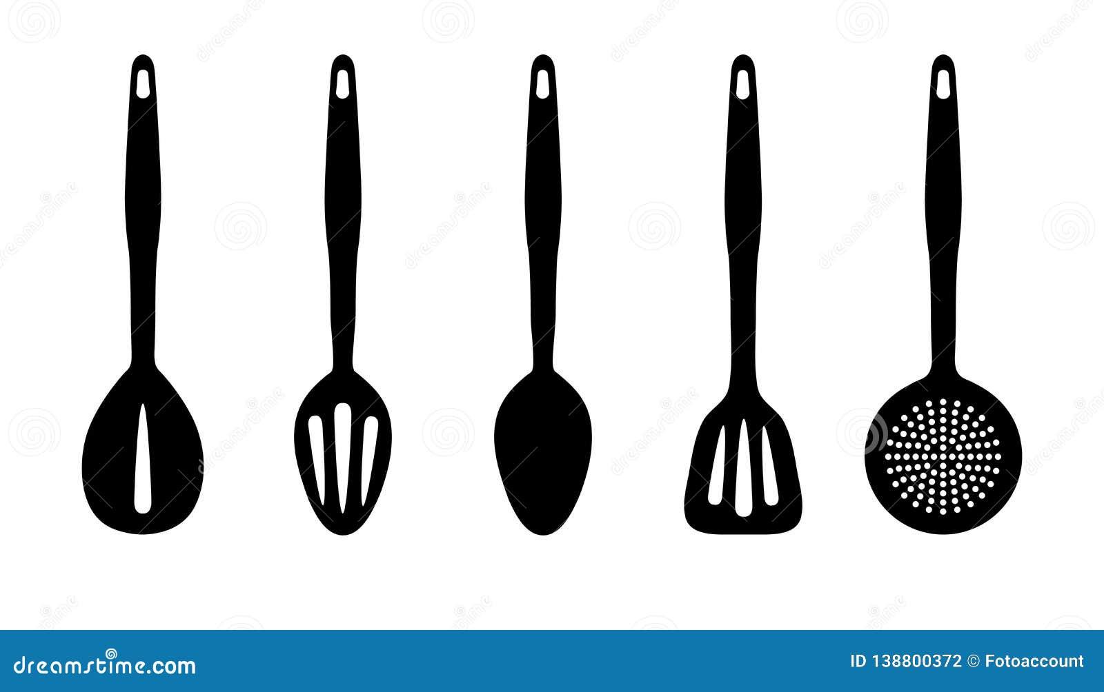 Утвари кухни - набор силуэта вектора - изолированные на белой предпосылке