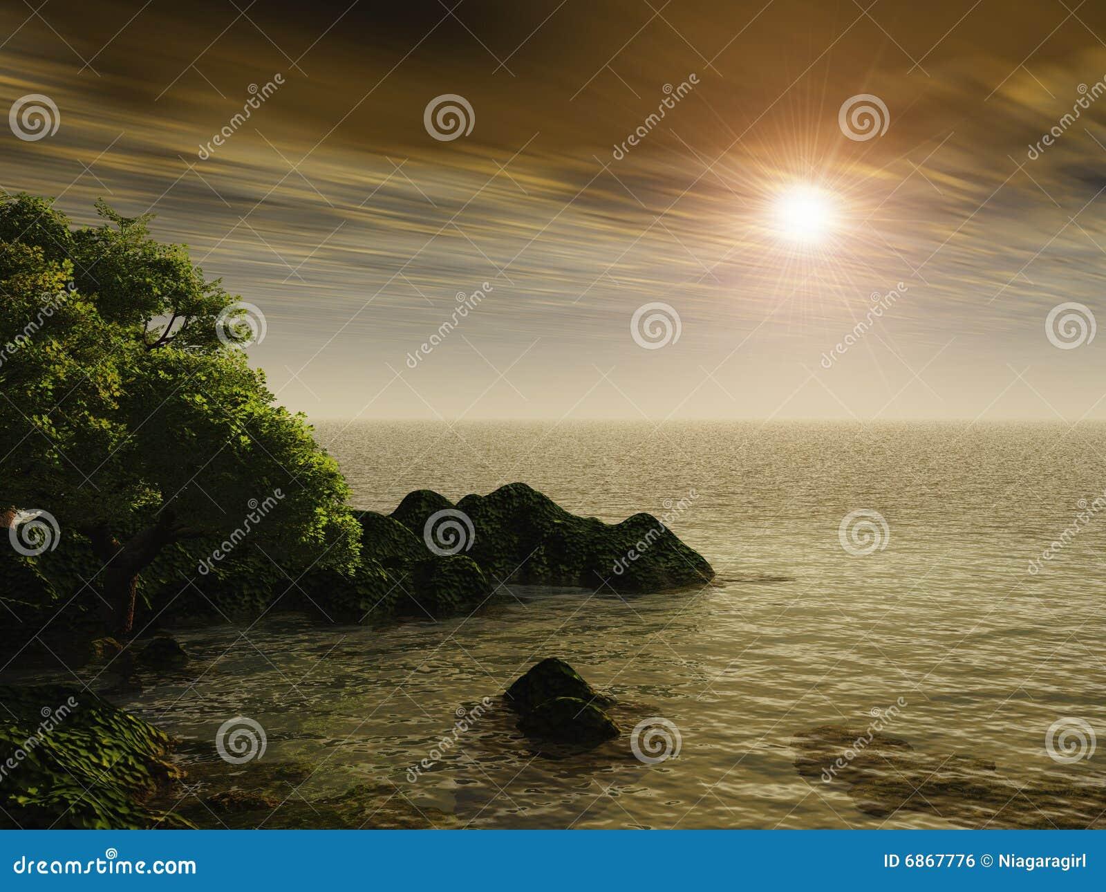 утесистый заход солнца берега