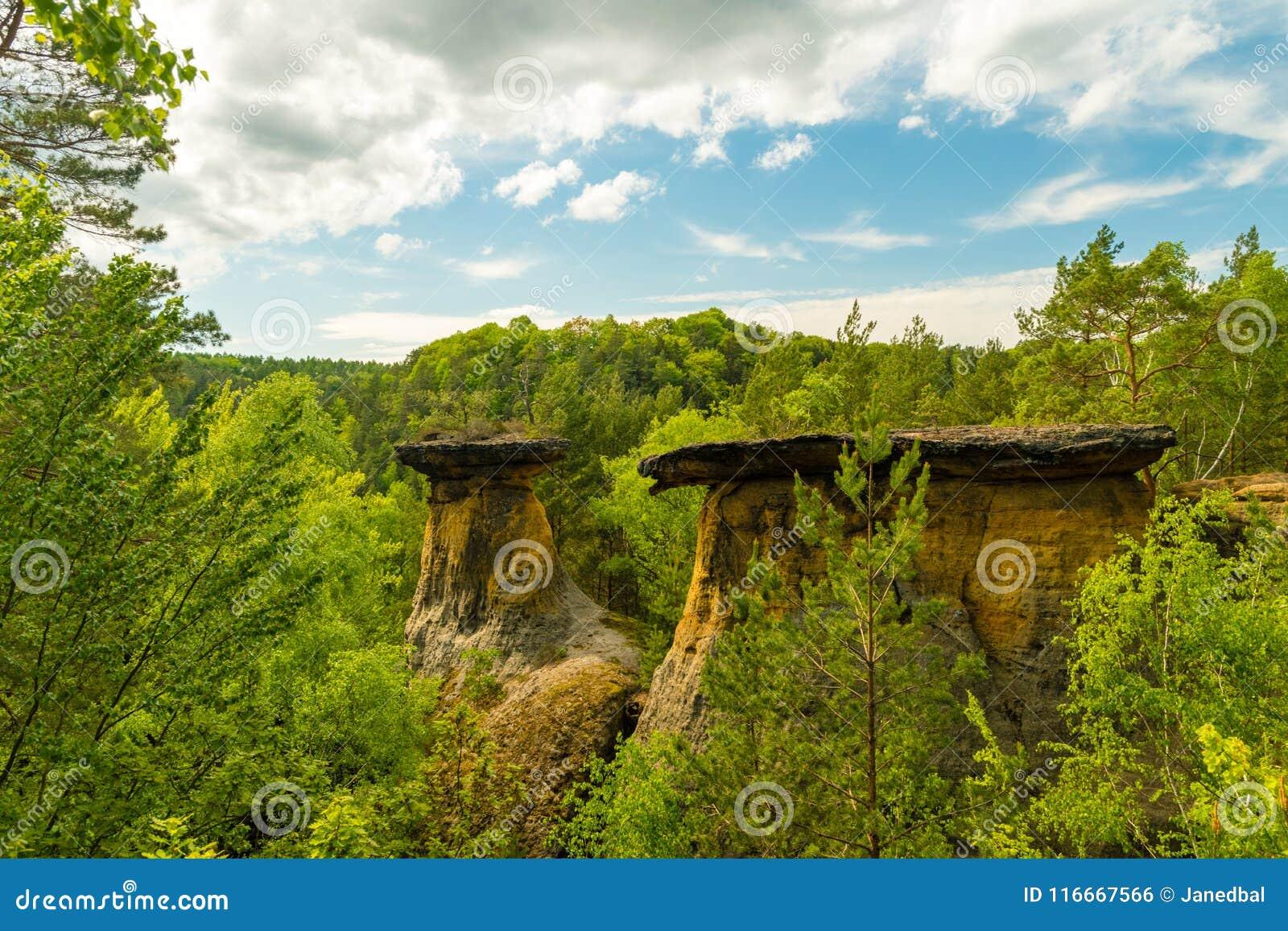Утесы песчаника Poklicky, Kokorinsko, kraj Machuv, защищенная зона ландшафта, чехия