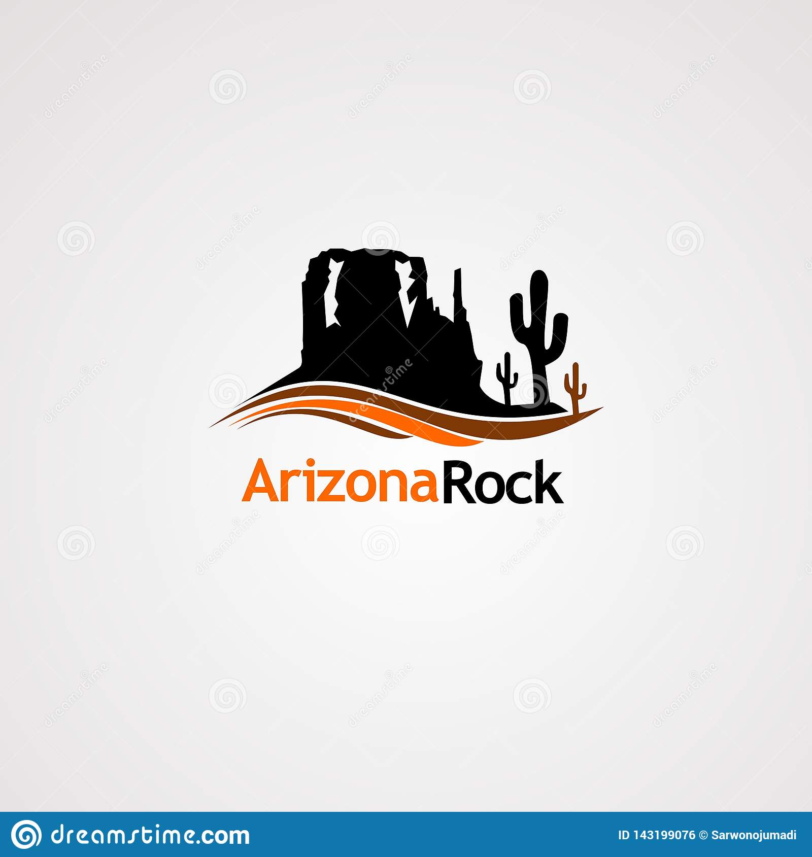 Утес Аризоны с вектором логотипа кактуса дерева и концепции волны, значком, элементом, и шаблоном для компании