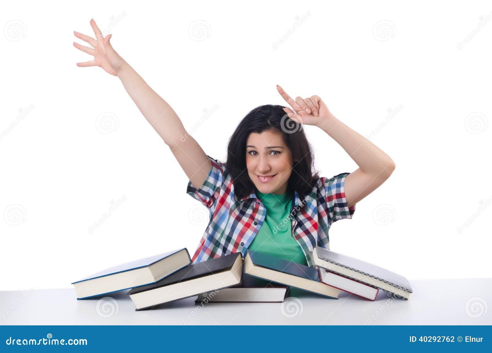 Утомленный студент с учебниками