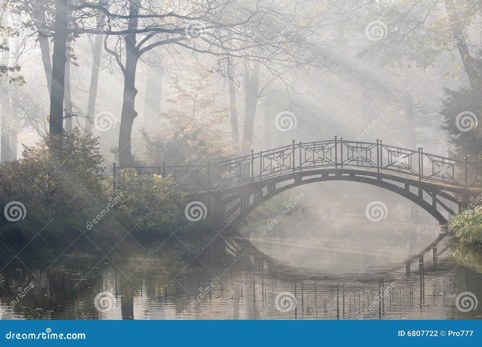 утро моста туманное