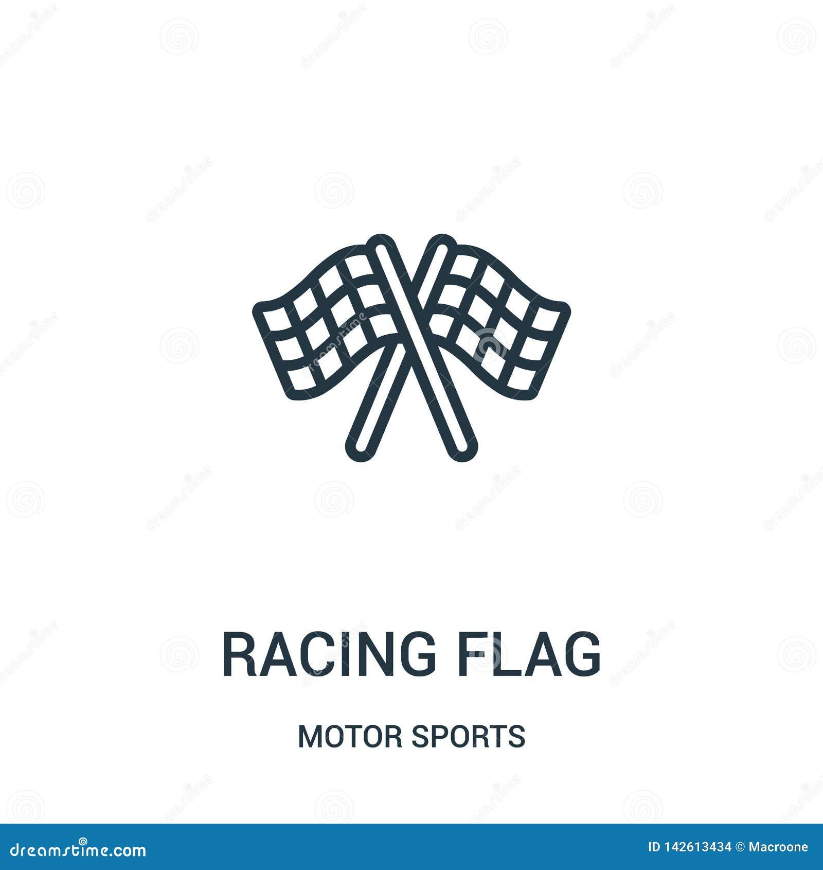 участвовать в гонке вектор значка флага от собрания автоспортов Тонкая линия участвуя в гонке иллюстрация вектора значка плана фл