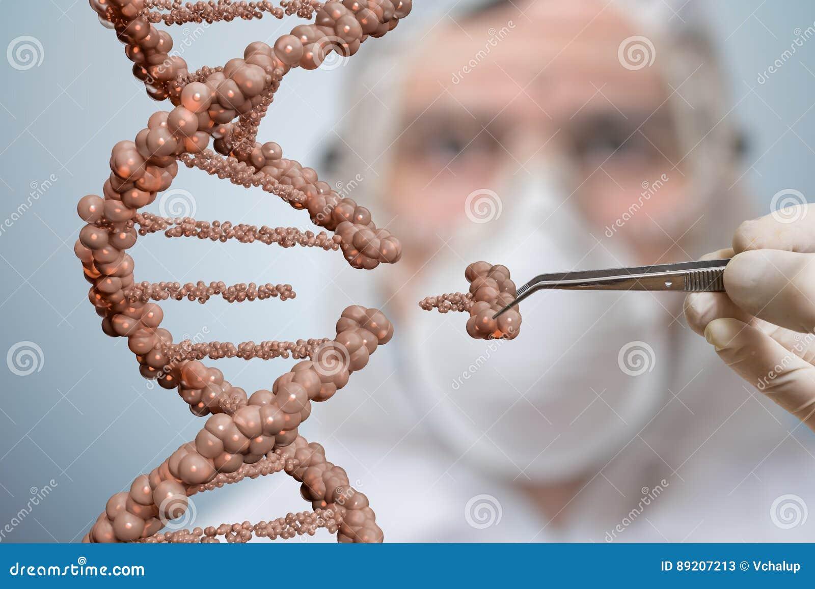 Ученый заменяет часть молекулы дна Концепция манипуляции генной инженерии и гена