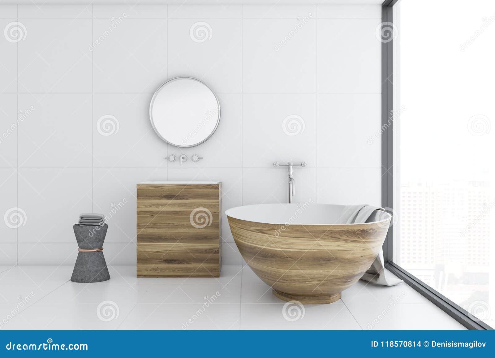 Ушат белой ванной комнаты внутренние, деревянные и раковина, сторона