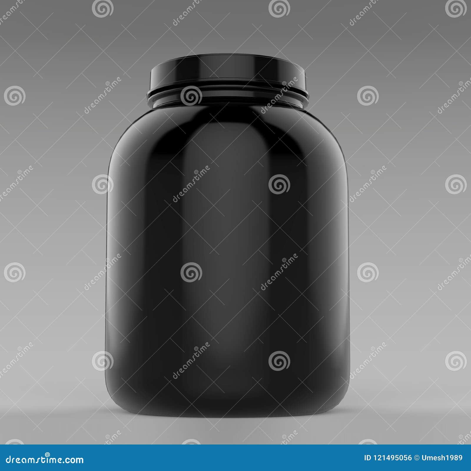Ушат и опарник контейнера порошка протеина или победителя черного пустого пустого винта верхние передние готовые для ваших ярлыко
