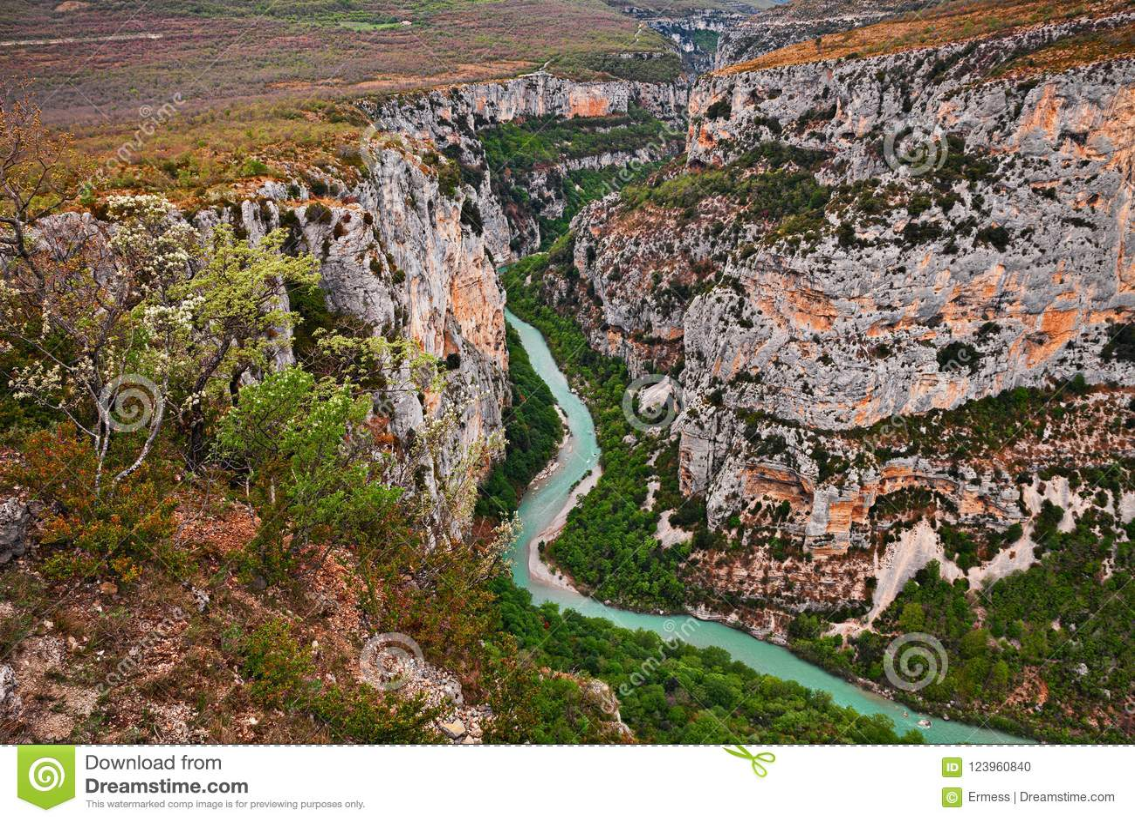 Ущелье Вердон, Провансаль, Франция: ландшафт каньона реки