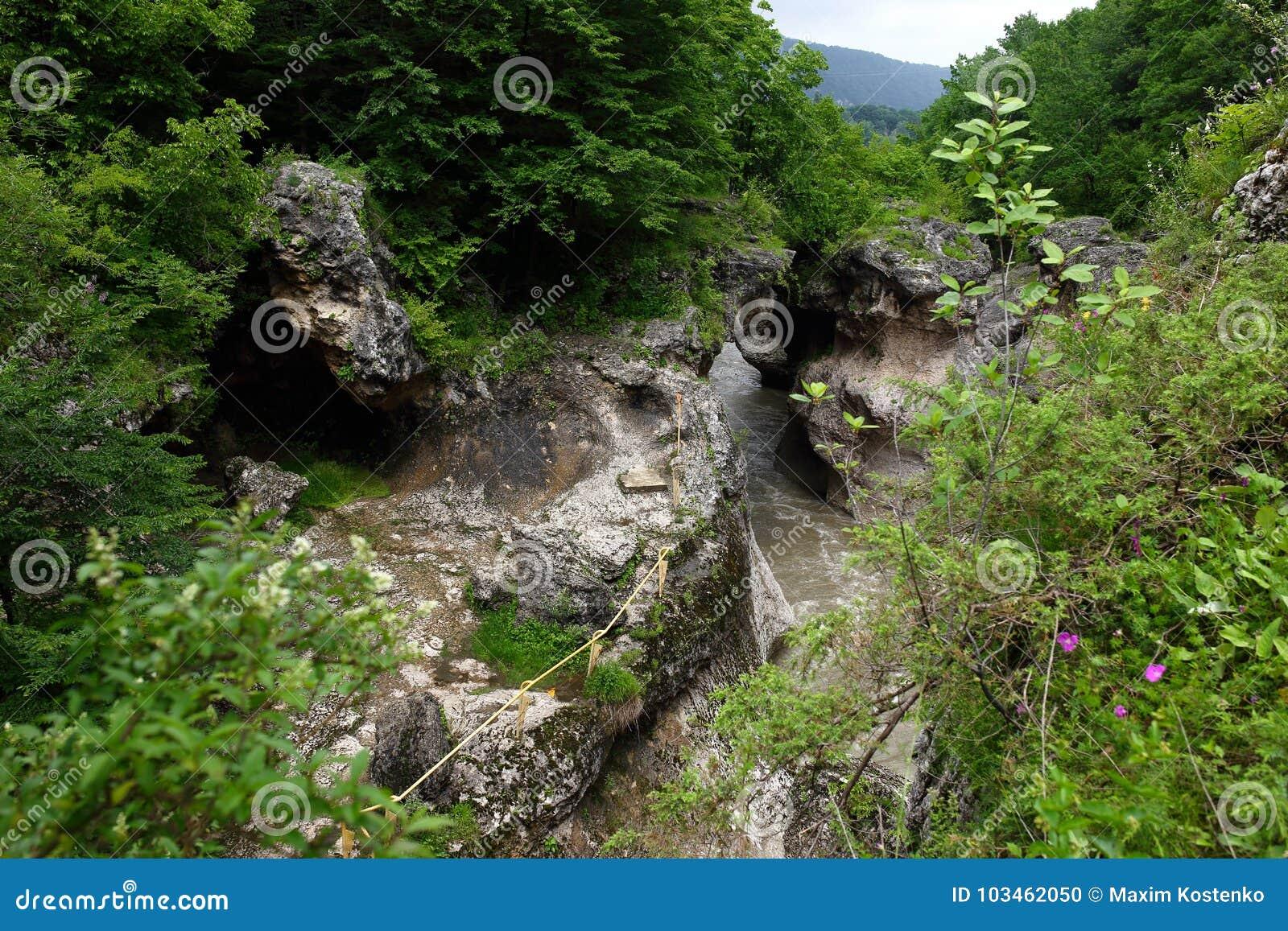 Ущелье Hajokh, очень узкий и глубокий каньон с overgrown наклонами Республика Adygea
