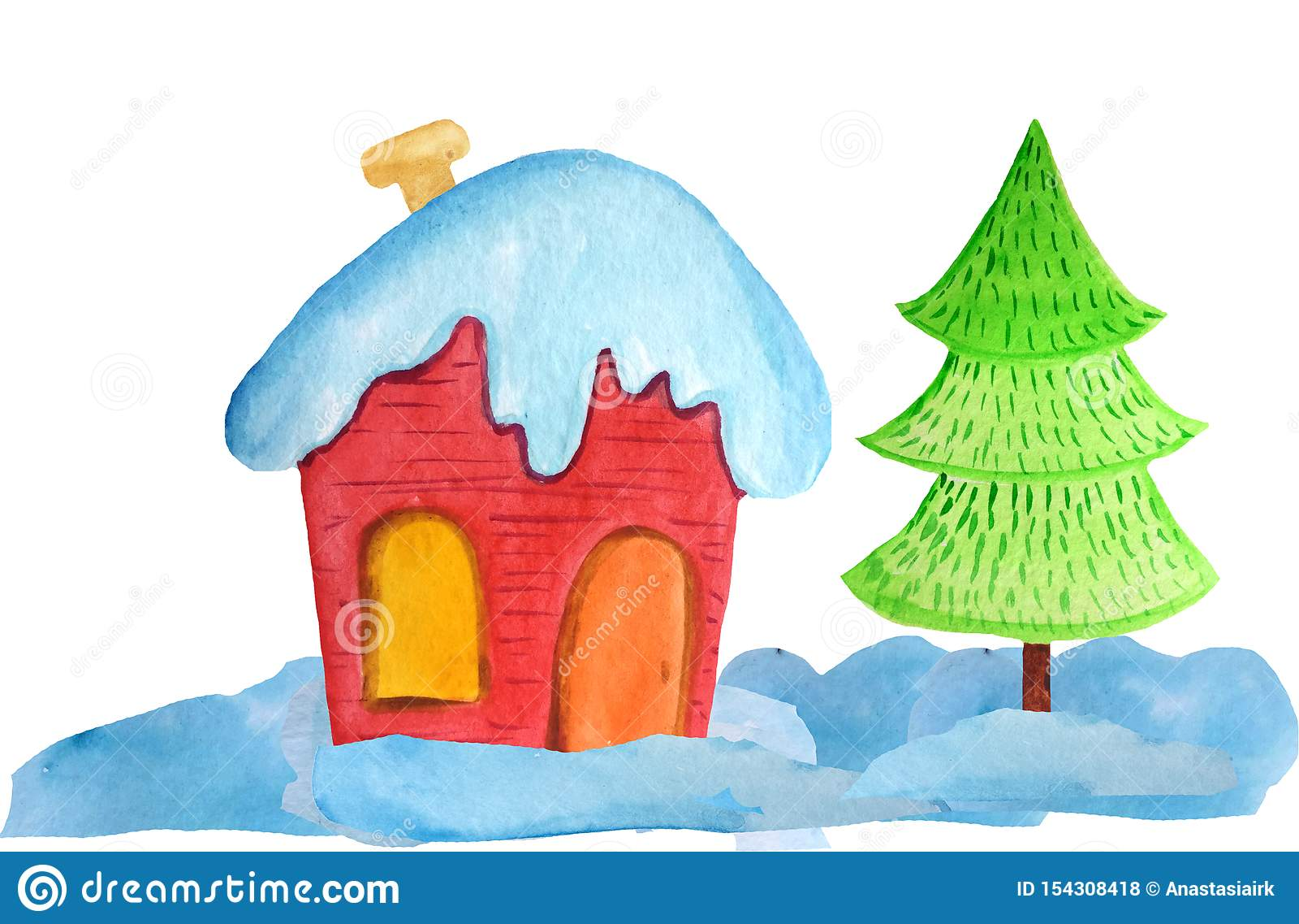 Уютный красный дом рождества в сугробах и дерево на белой предпосылке иллюстрация акварели для плакатов, знамен r