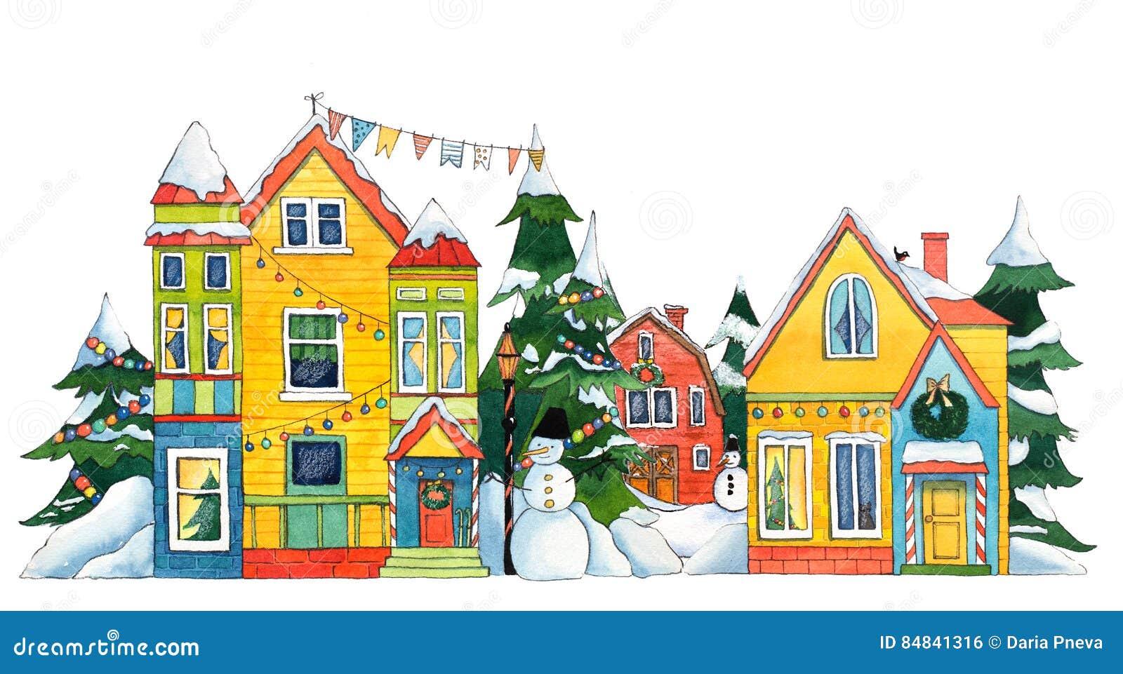 Улица рождества акварели
