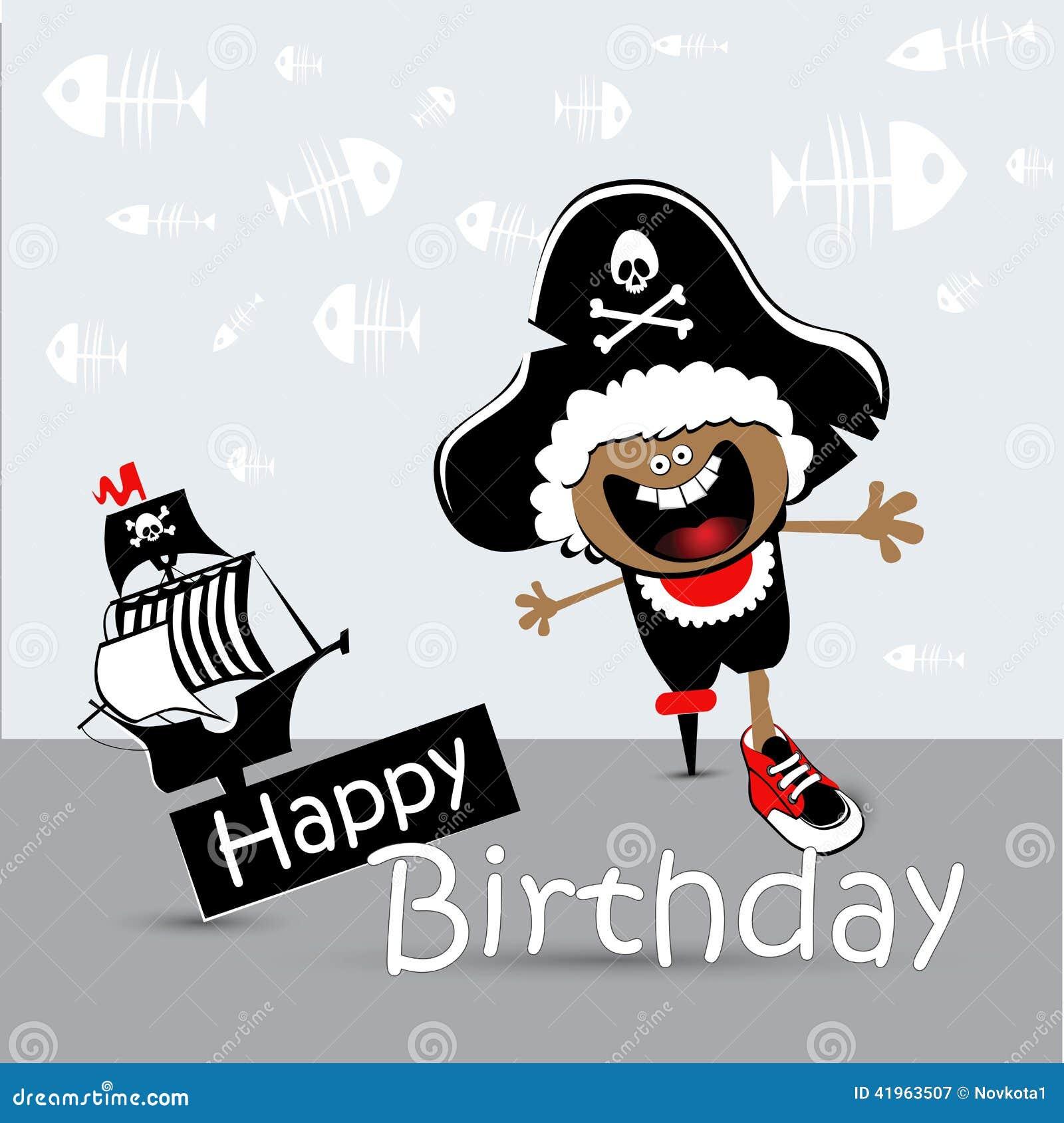 Красивых, открытка с пиратом на день рождения