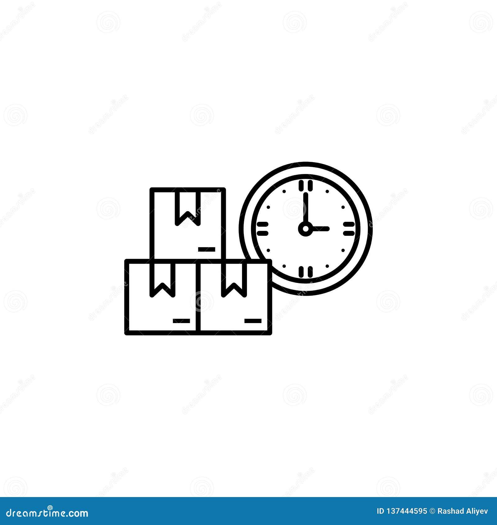 фабрика, коробки, значок часов Элемент значка продукции для передвижных apps концепции и сети Тонкая линия фабрика, коробки, знач