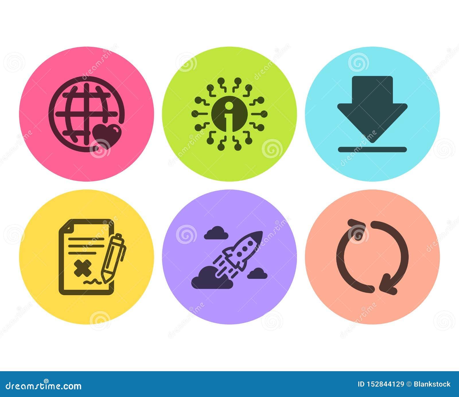 Файл брака, международная любовь и ракета запуска набор значков Информация, загрузка и освежить знаки r