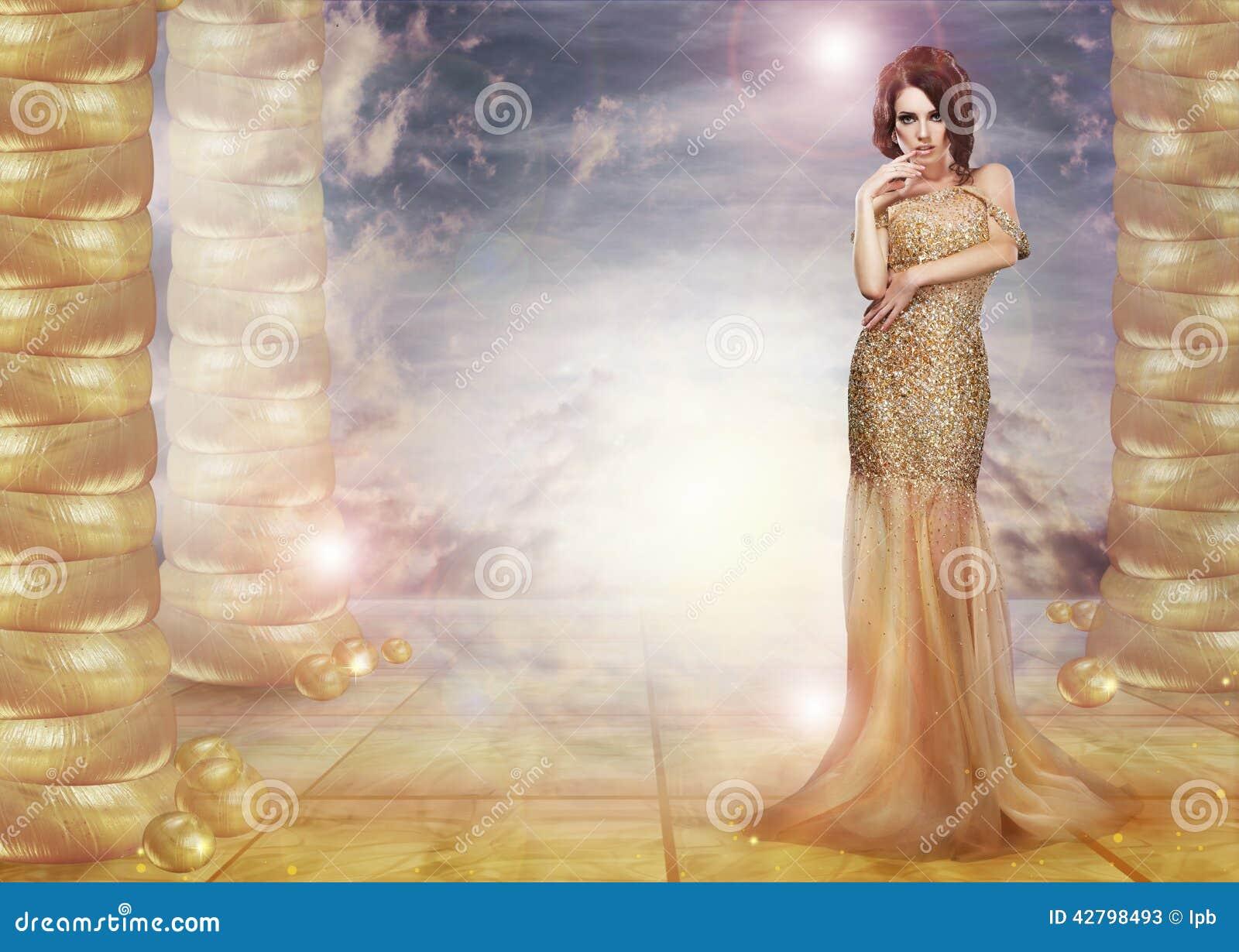фантазия glam Маня дама в стильном платье над абстрактной предпосылкой