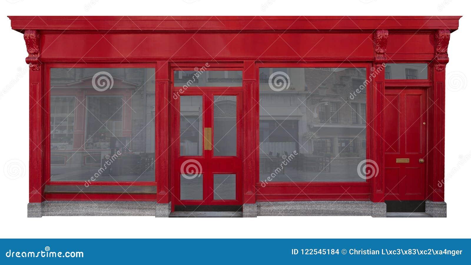Фасад дела с красным деревянным входом отрезал вне на белой предпосылке