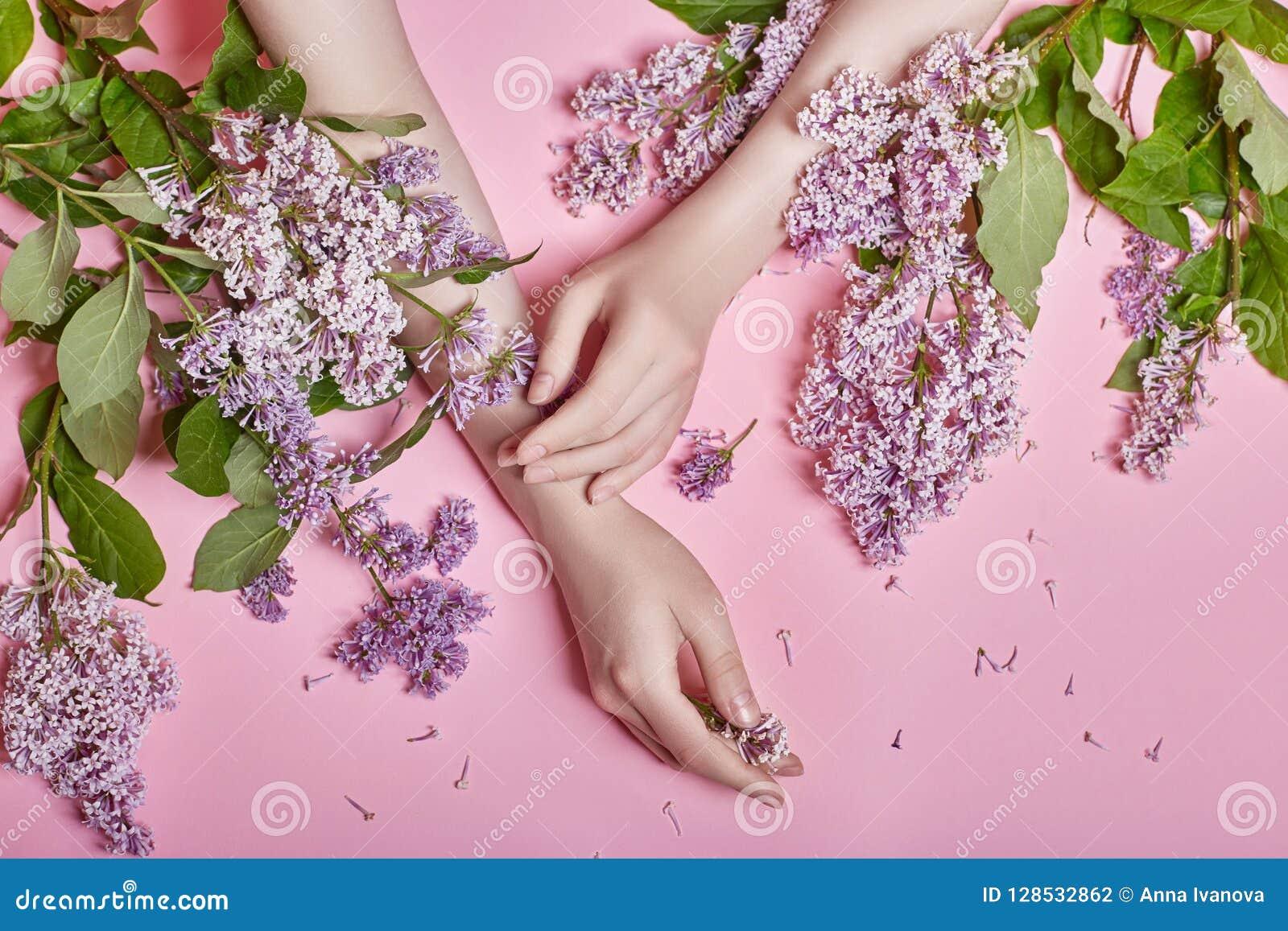 Фасонируйте рукам искусства естественных женщин косметик, ярких фиолетовых цветков сирени в руке с ярким составом контраста, забо