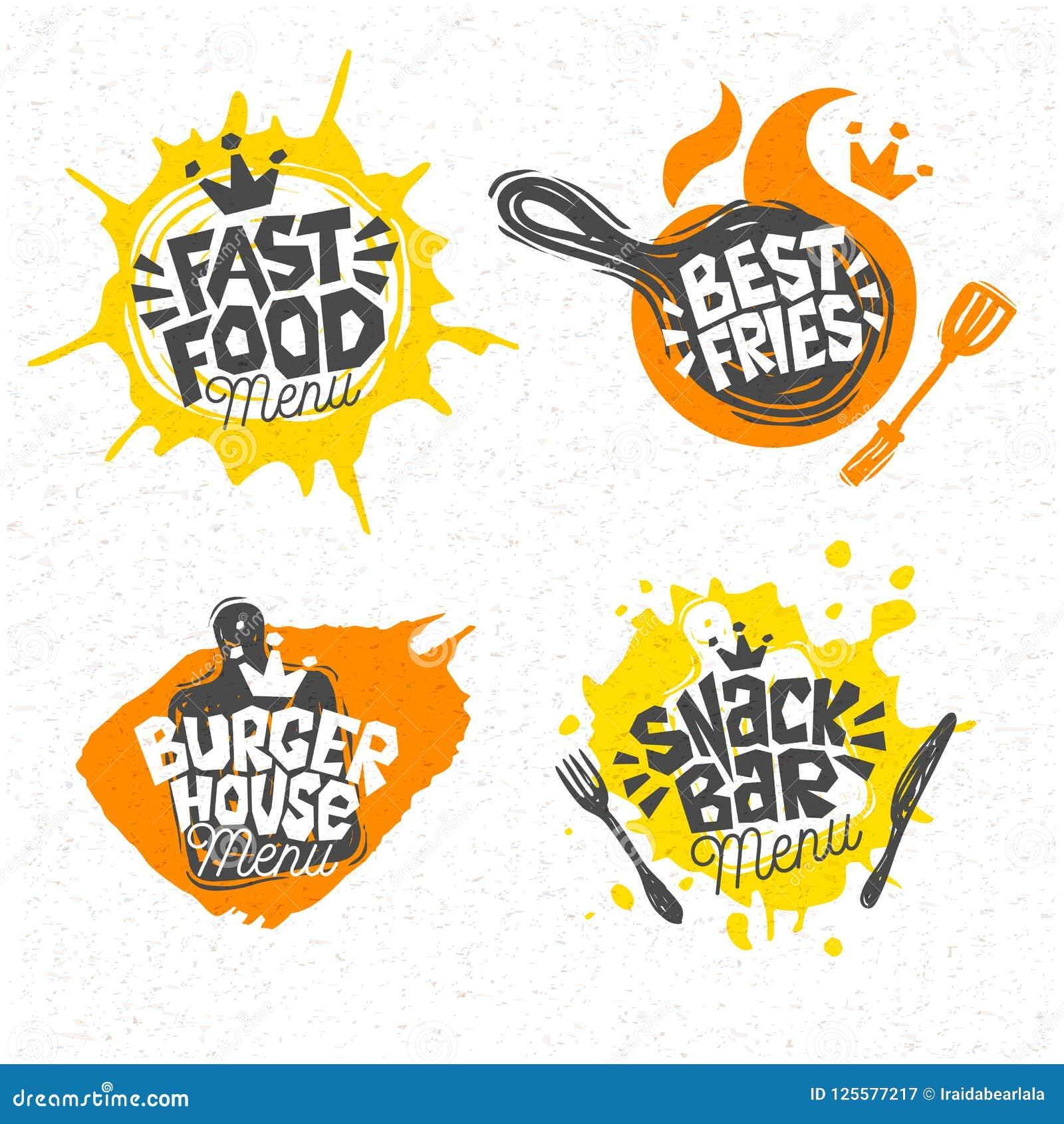 Фаст-фуд, дом бургера, самая лучшая пицца, фраи, логотип, знаки, символы, эмблемы, ярлыки, помечая буквами