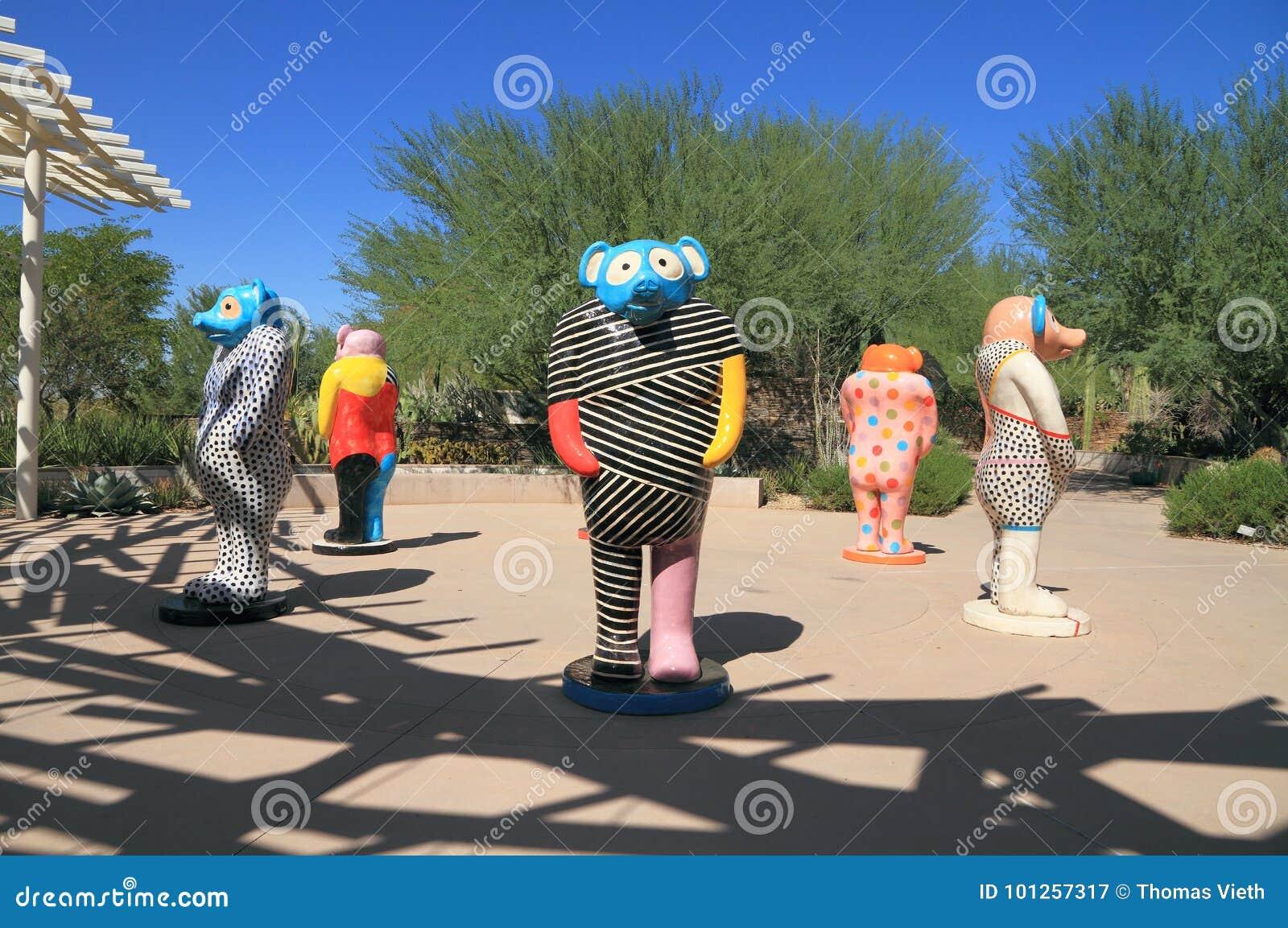 Феникс/Tempe, Аризона: Скульптуры июня Kaneko в саде пустыни ботаническом