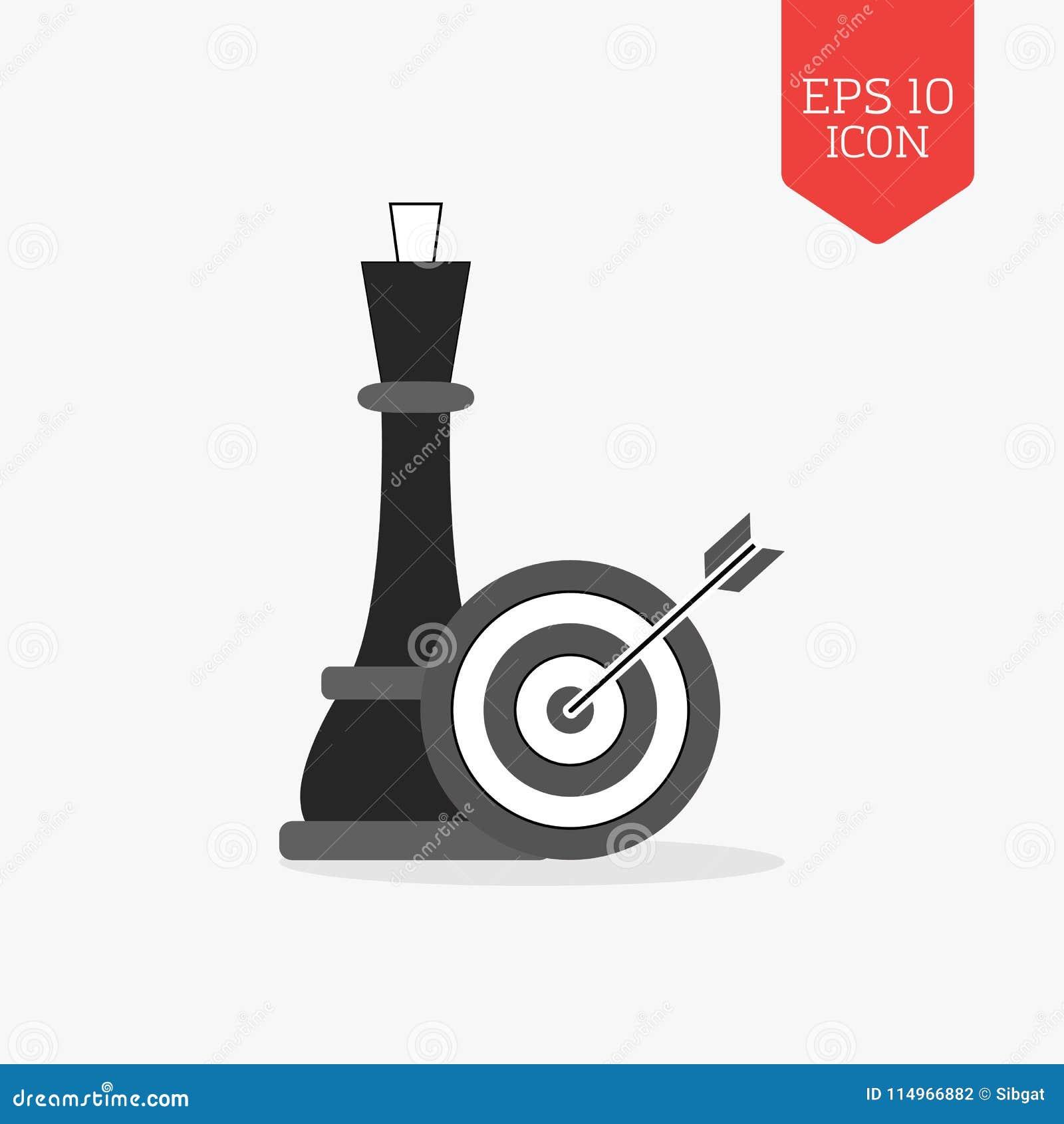 Ферзь и цель шахмат с значком стрелки business concept images more my portfolio startegy Плоский d