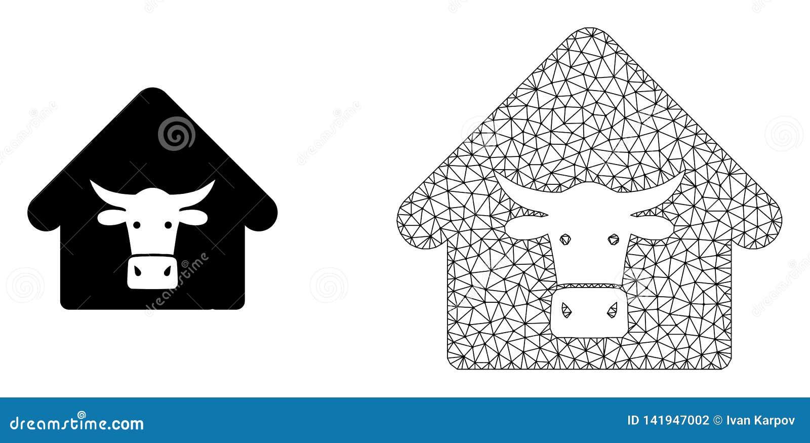 Ферма коровы сетки вектора полигональная и плоский значок