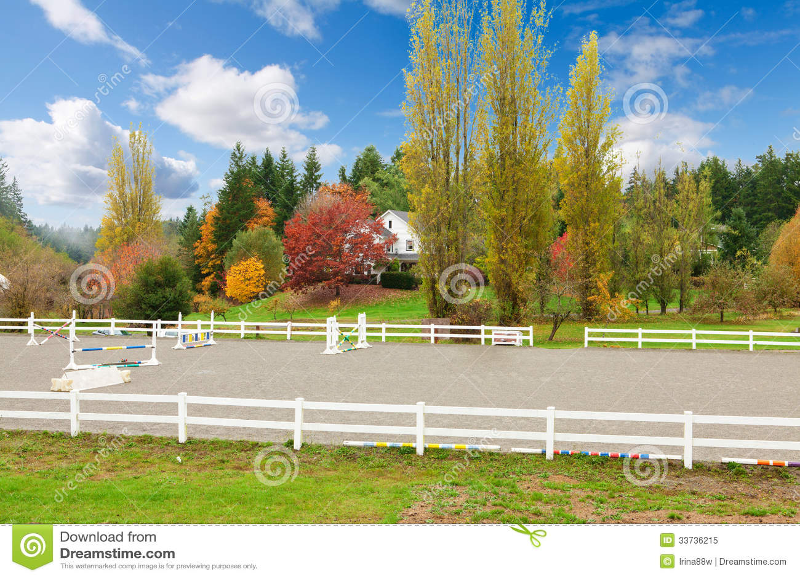 Ферма лошади с белой загородкой и листьями падения красочными.