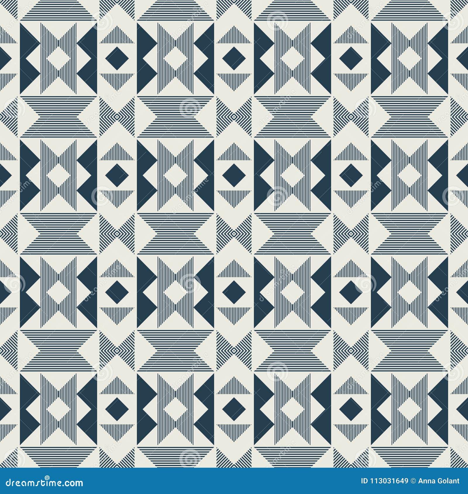 Фиолетовая геометрическая картина в повторении Печать ткани Безшовная предпосылка, орнамент мозаики, этнический стиль