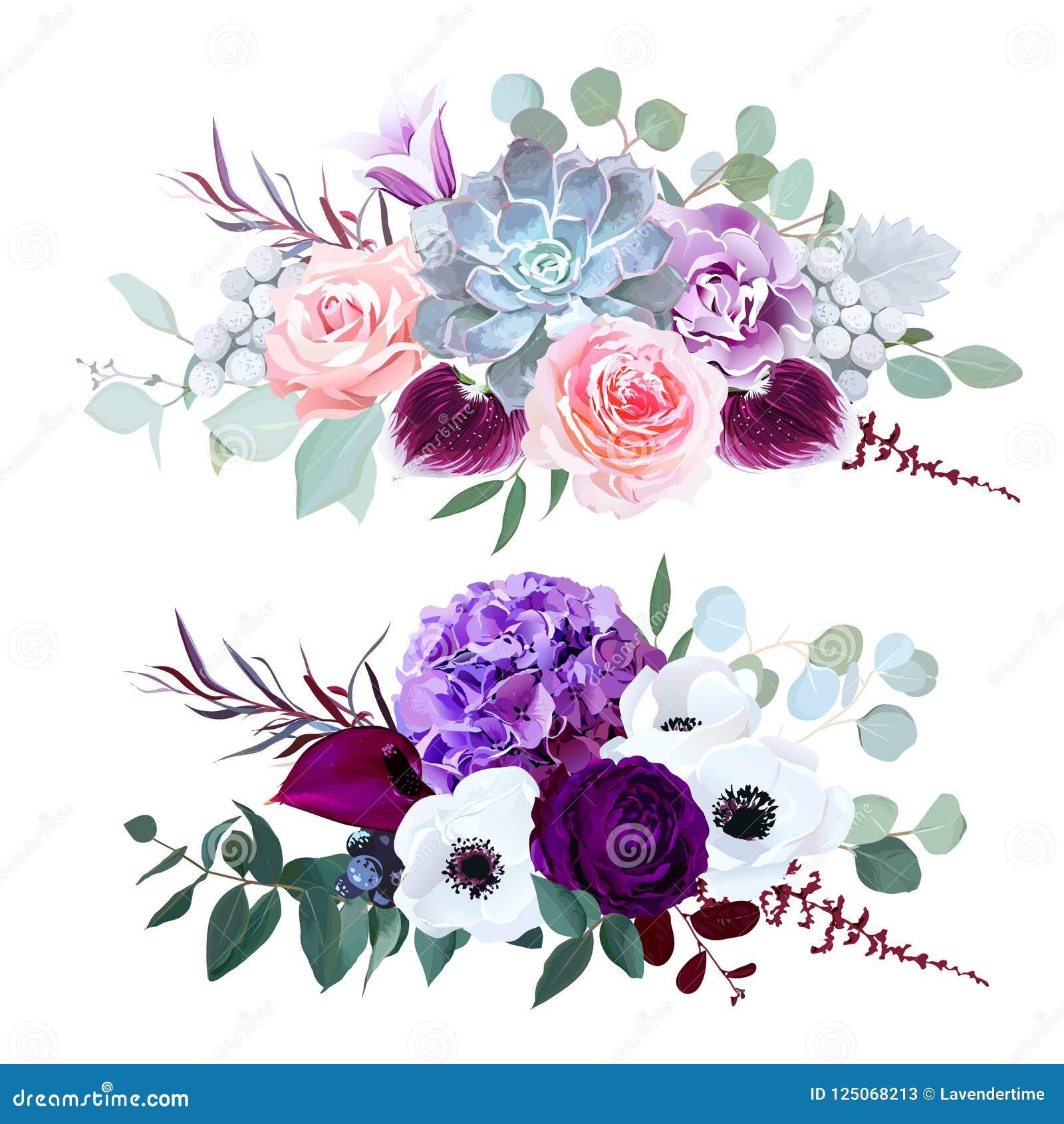 Фиолетовая гортензия, гвоздика, цветок колокола, роза пинка, антуриум,