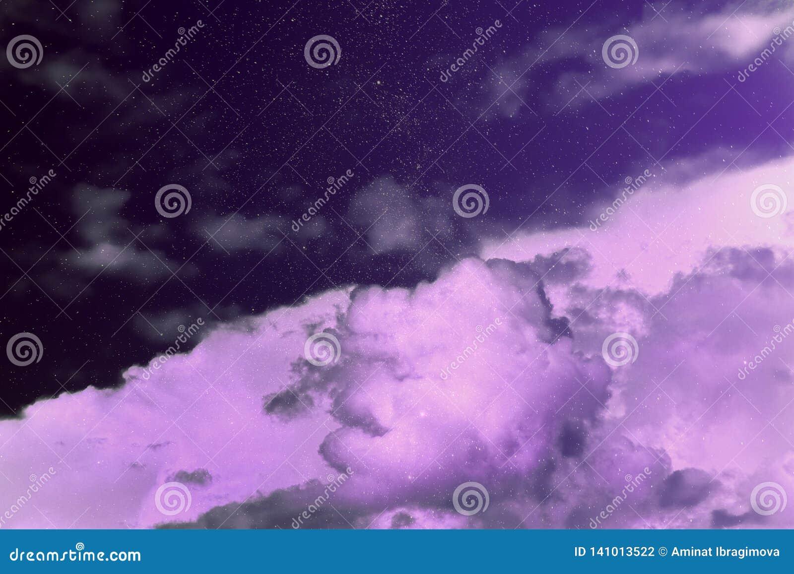 Фиолетовое волшебное небо сновидение чудеса Звёздные облака неба рай