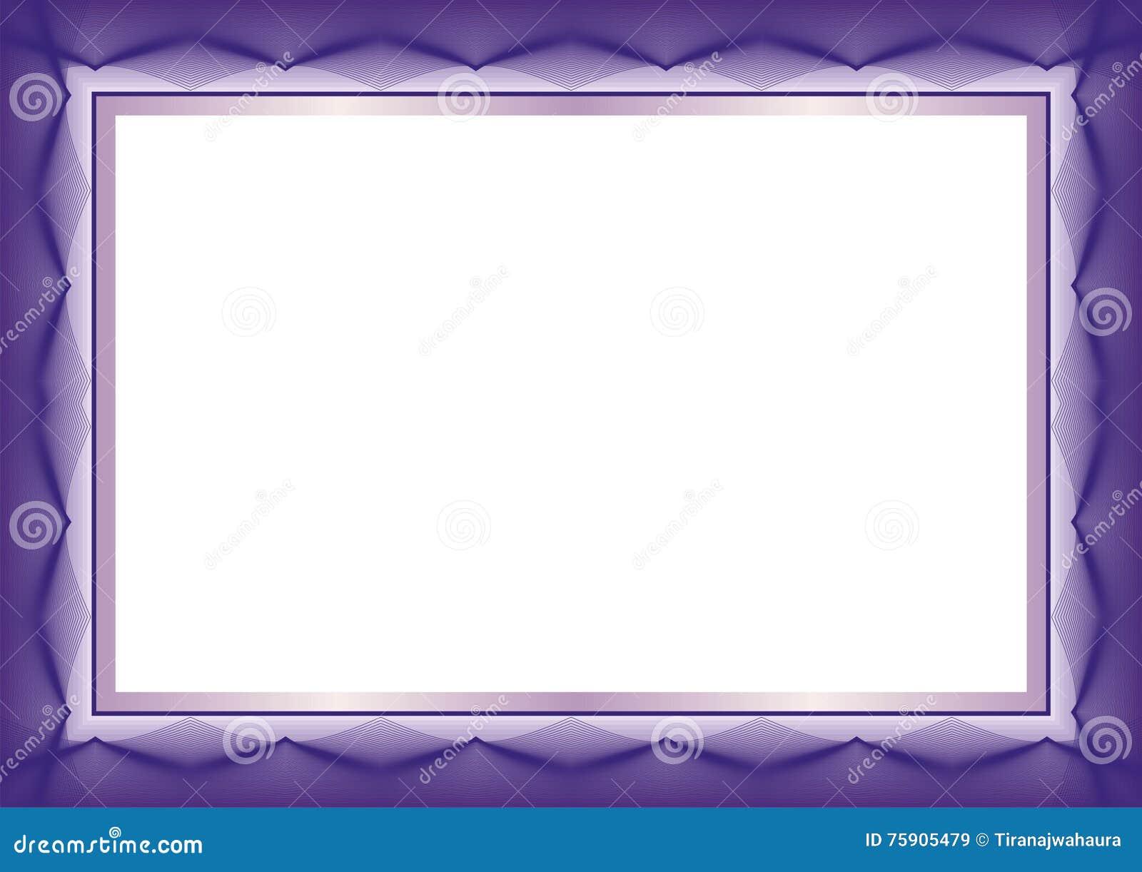 Фиолетовая рамка шаблона сертификата или диплома - граница