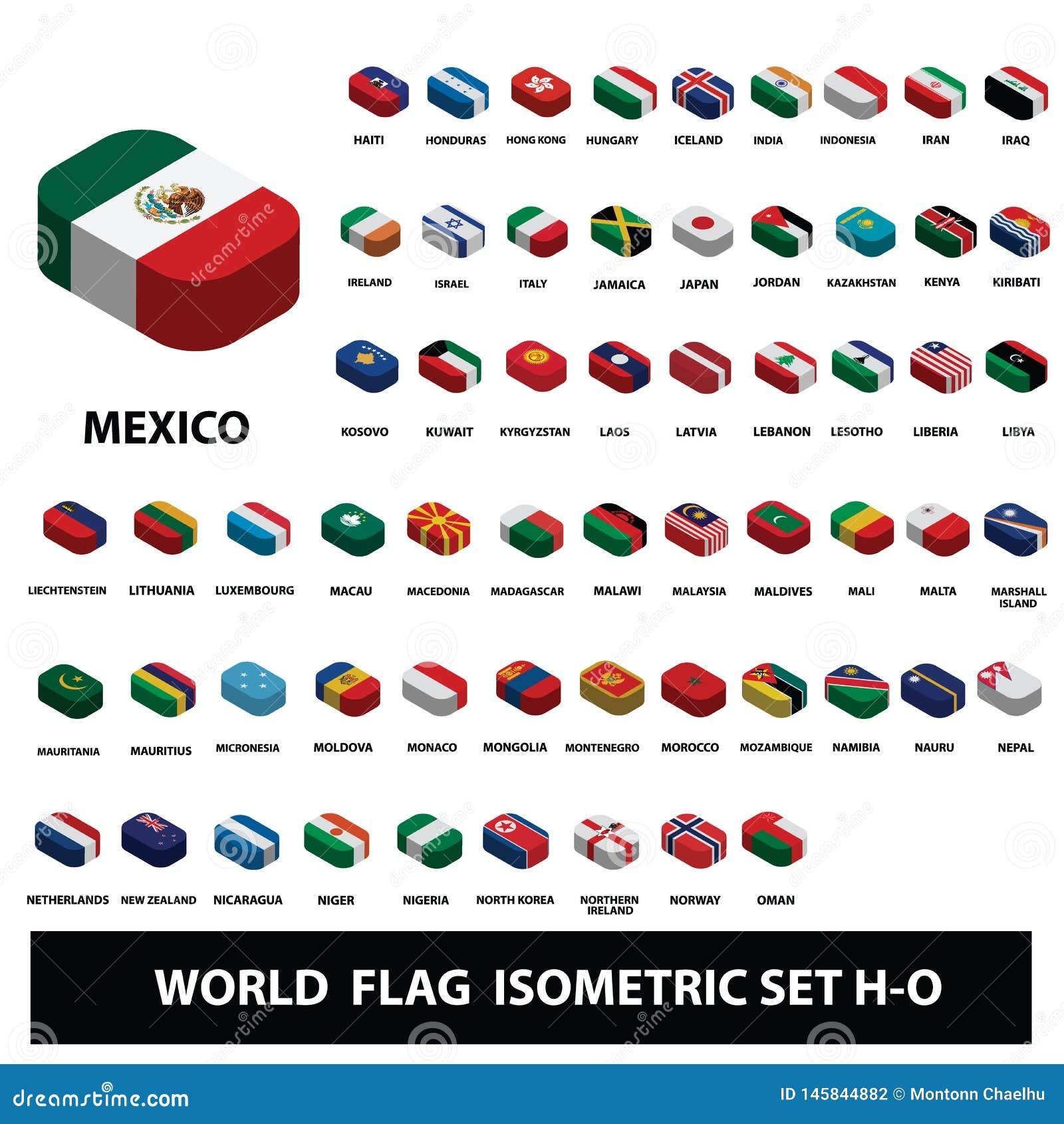 Флаги набора флагов собрания стран мира равновеликого H-O