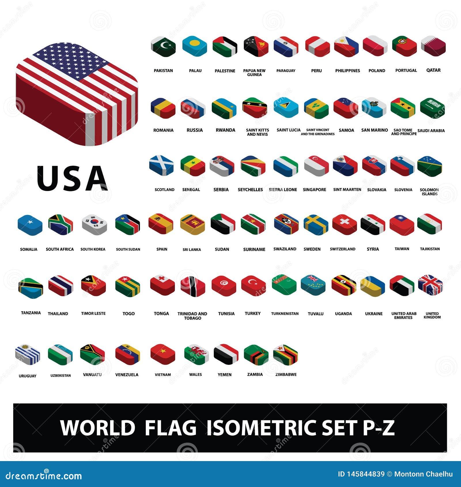 Флаги набора P-Z флагов собрания стран мира равновеликого