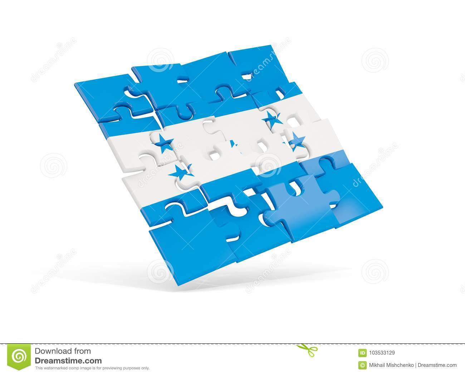 Флаг головоломки Гондураса изолировал на белизне