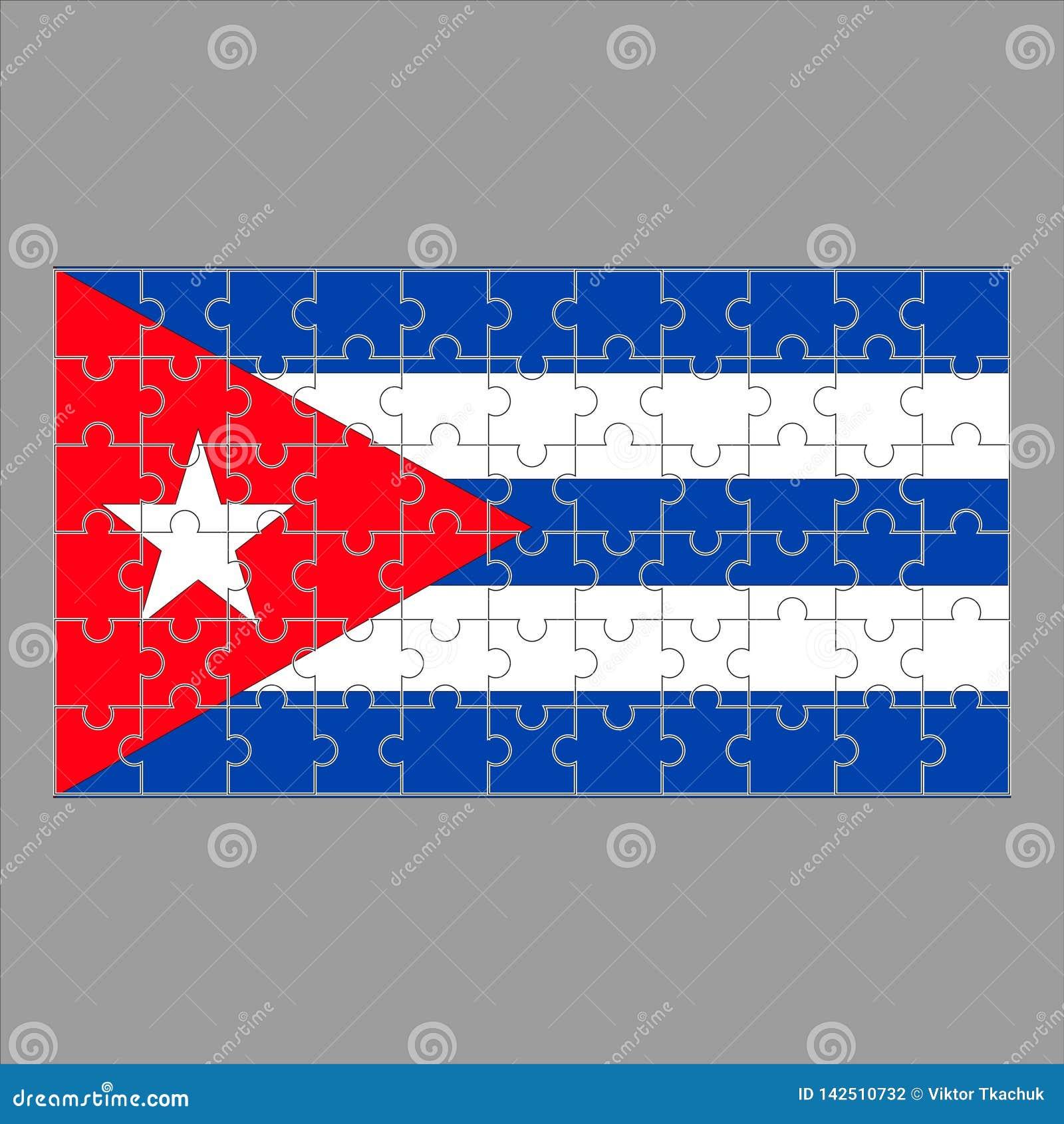 Флаг головоломок Кубы на серой предпосылке