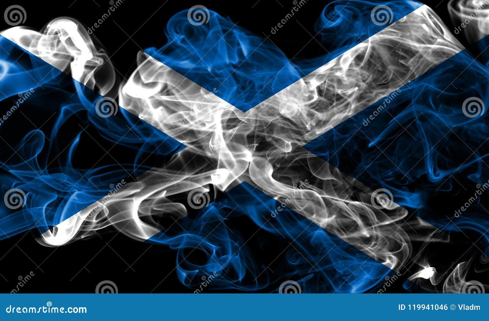 Флаг дыма Шотландии на черной предпосылке